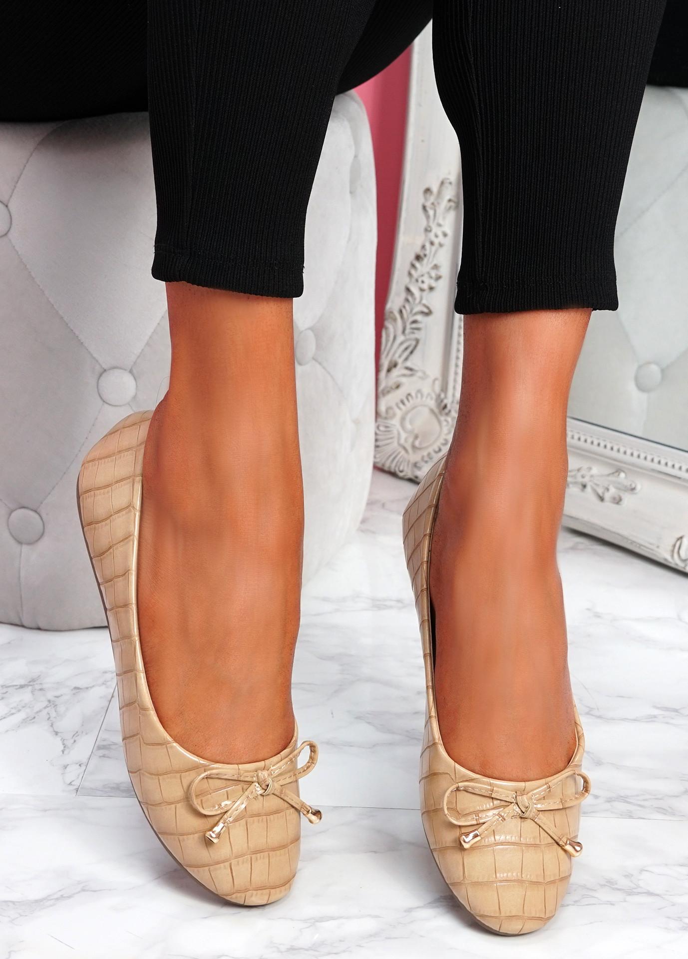 Lidda Beige Croc Ballerinas