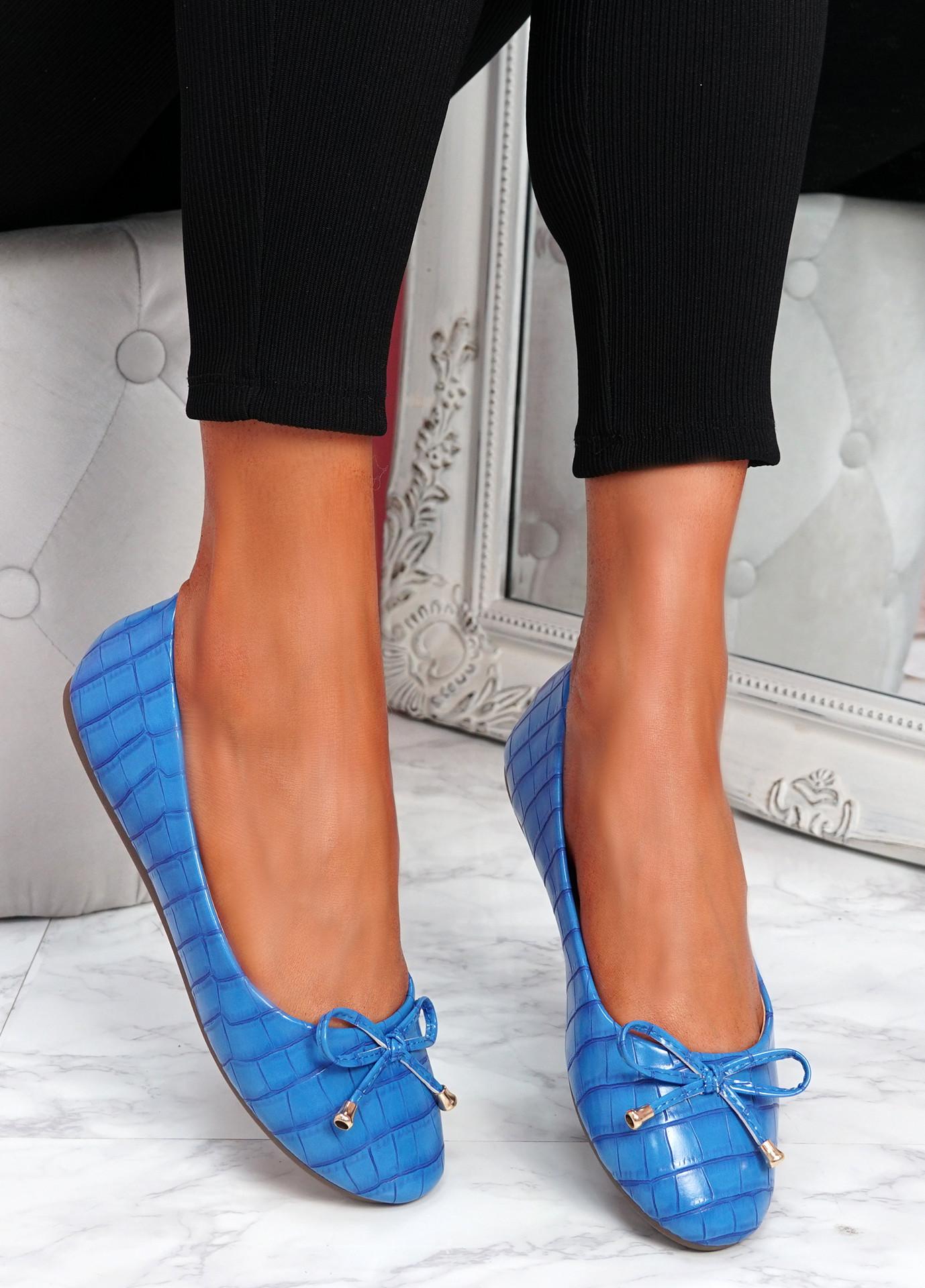 Lidda Light Blue Croc Ballerinas