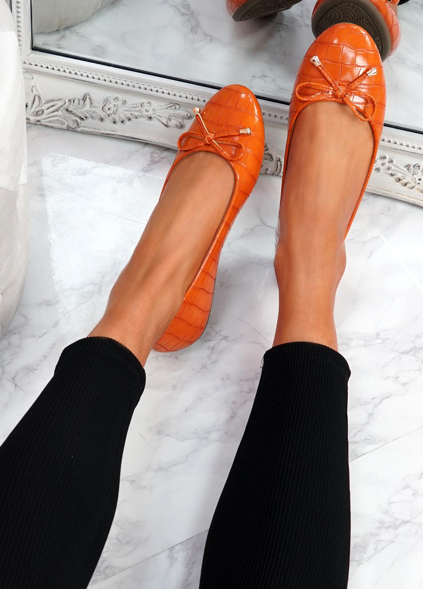 Lidda Orange Croc Ballerinas