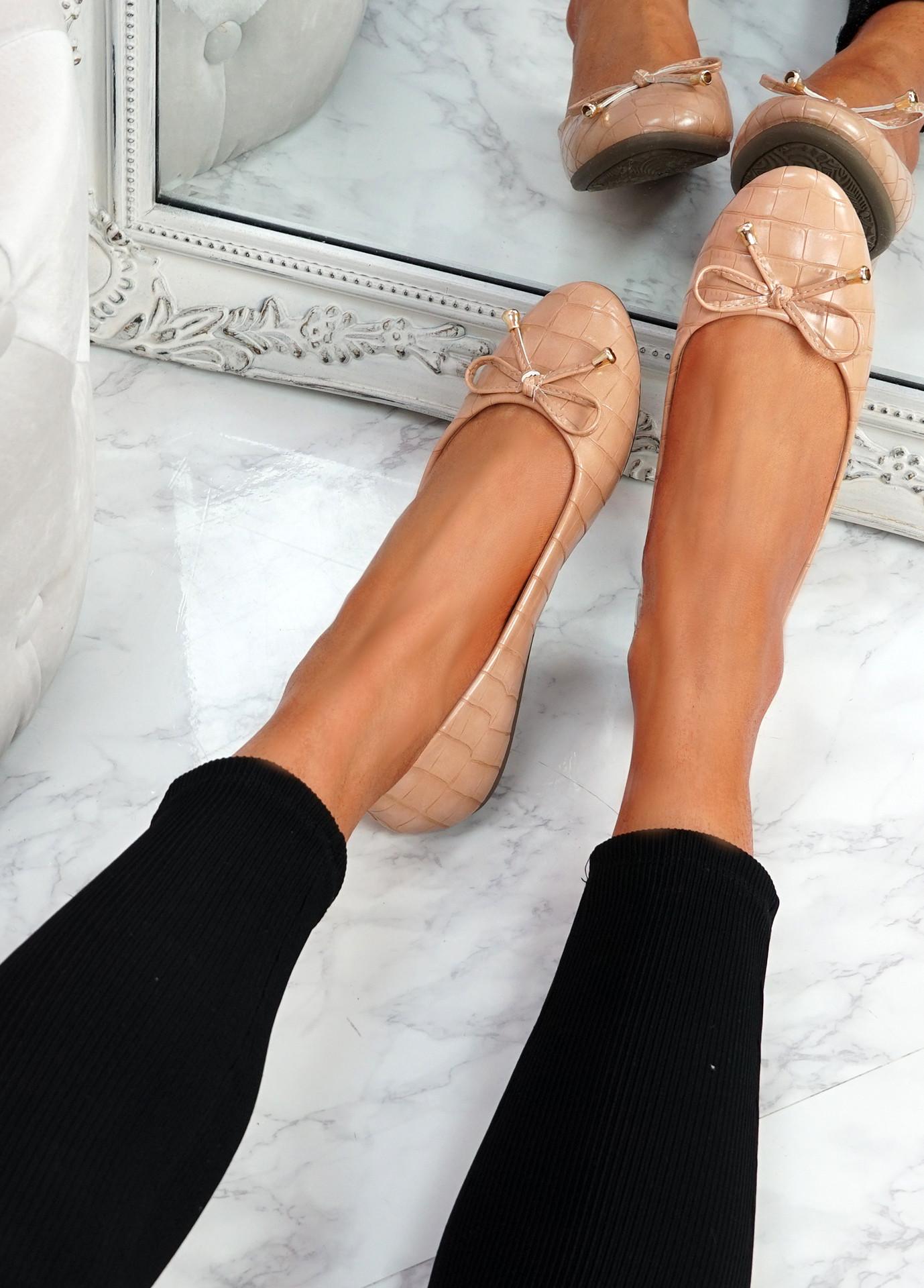 Lidda Pink Croc Ballerinas