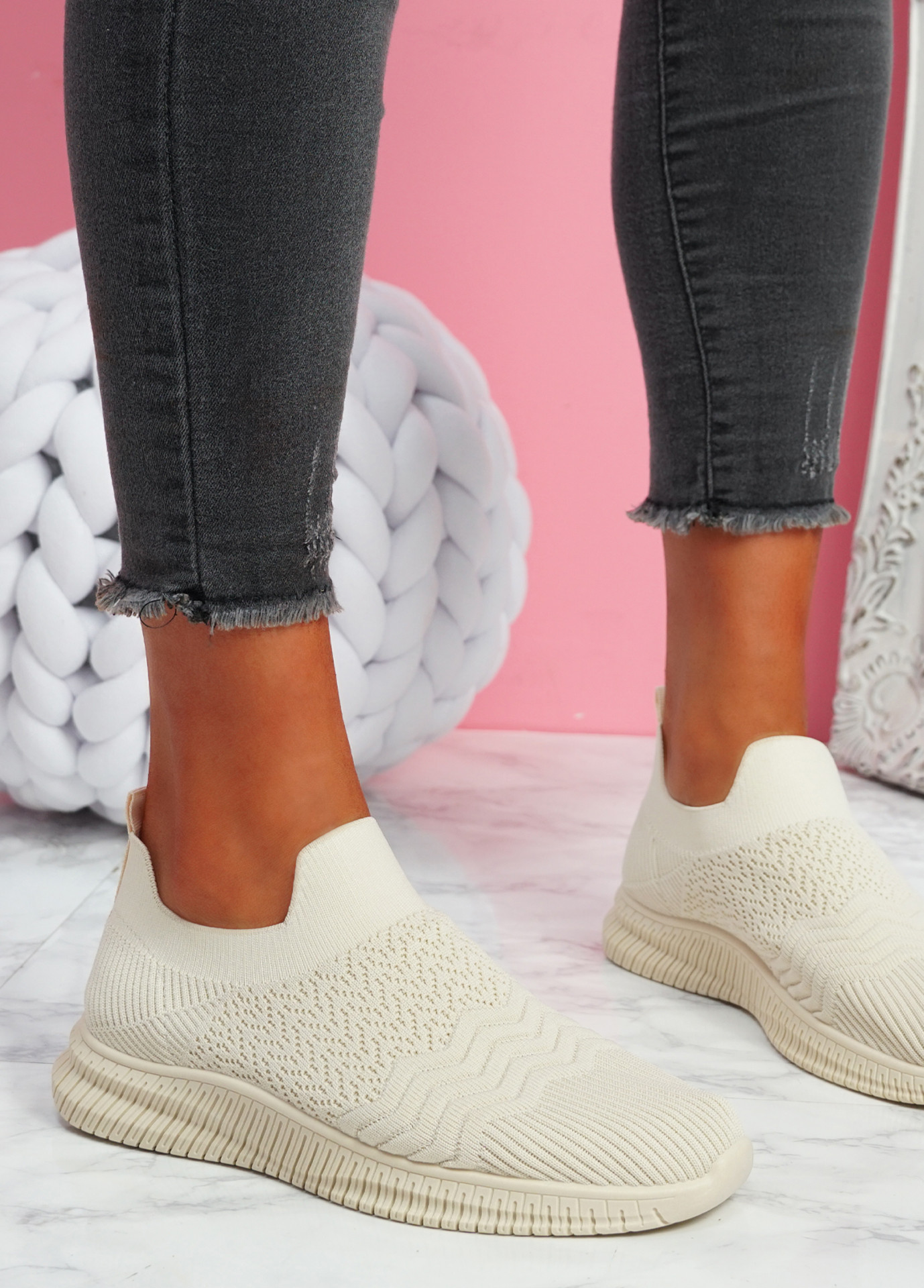 Mabba Beige Knit Running Trainers