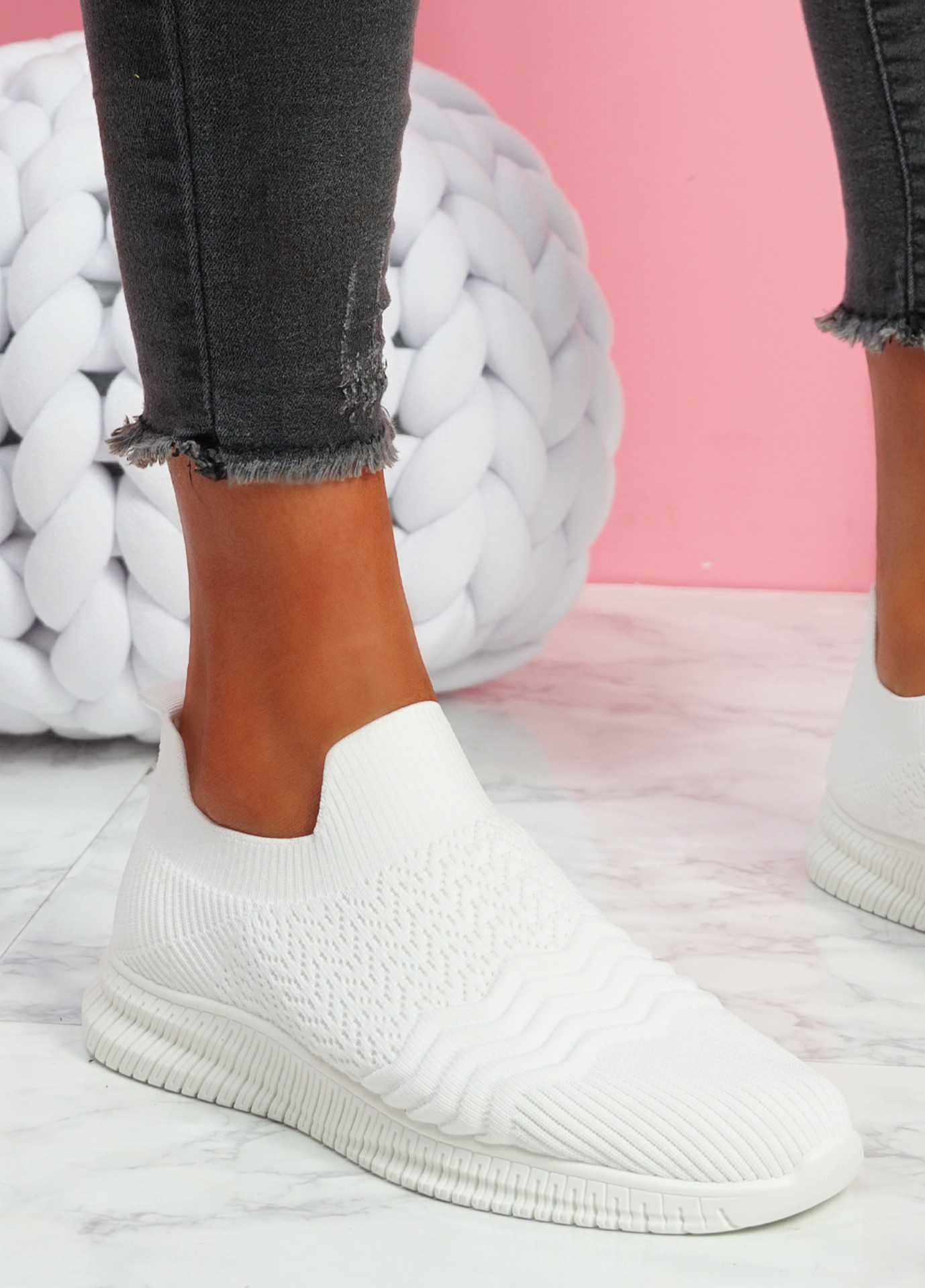 Mabba White Knit Running Trainers
