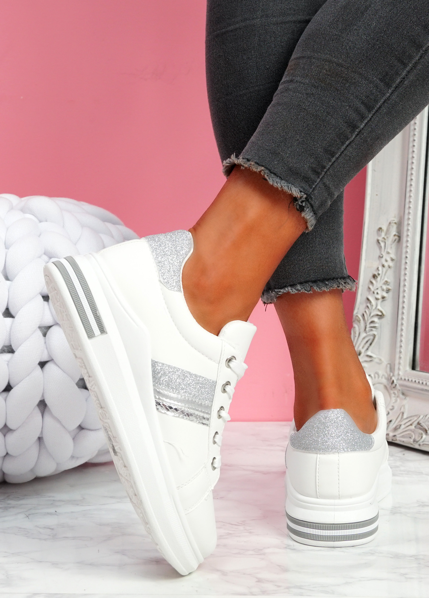 Habby White Silver Glitter Trainers