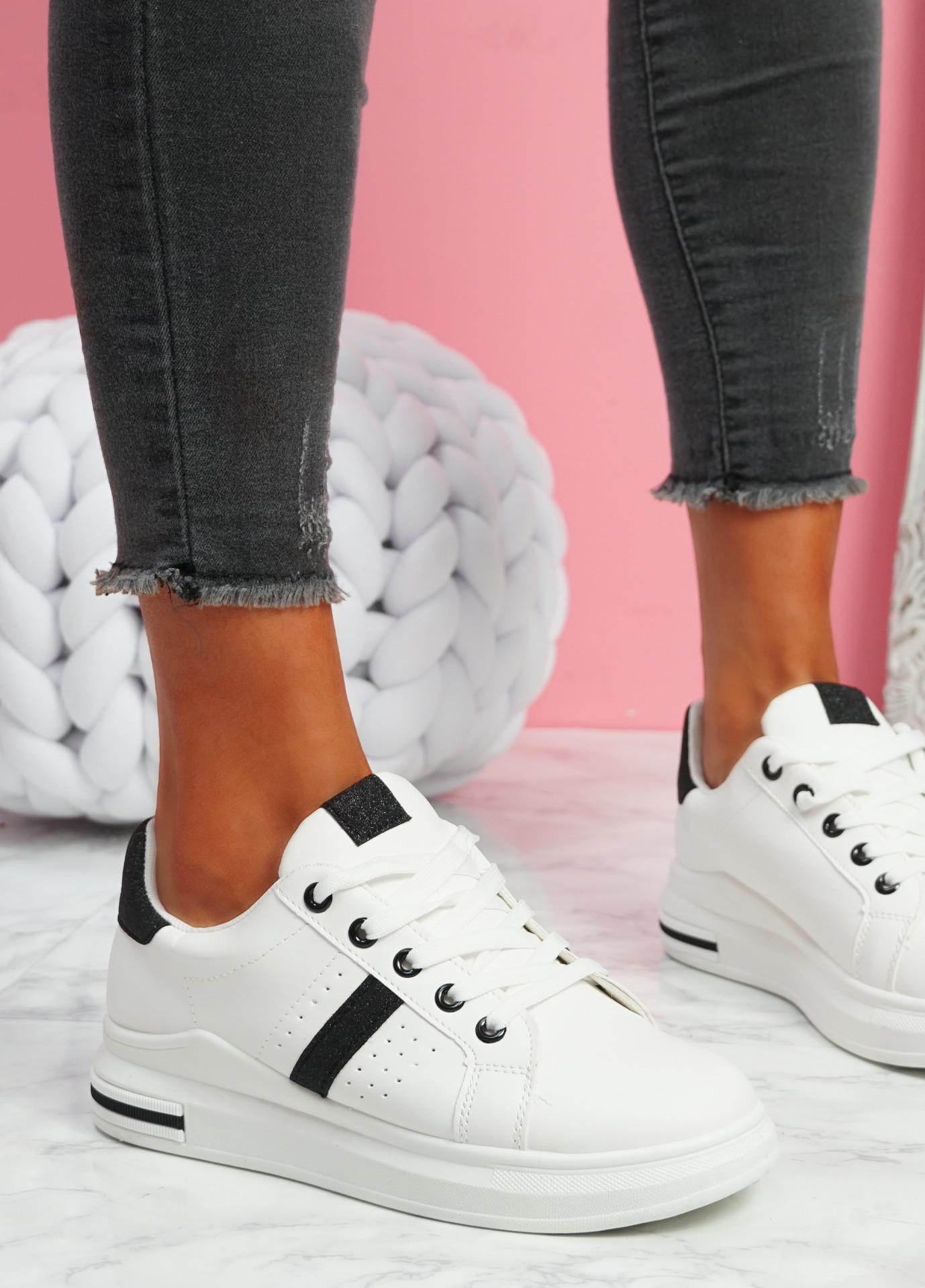 Juwe White Black Platform Glitter Trainers
