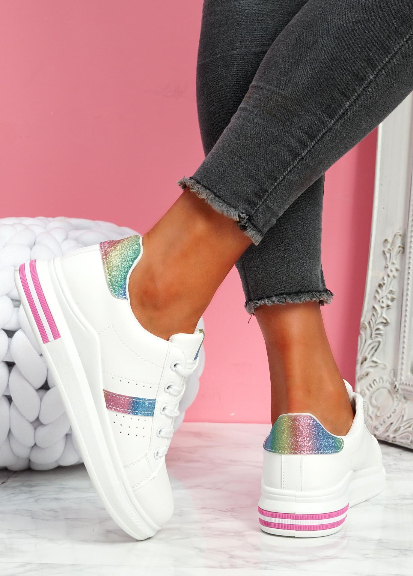Juwe White Colour Platform Glitter Trainers