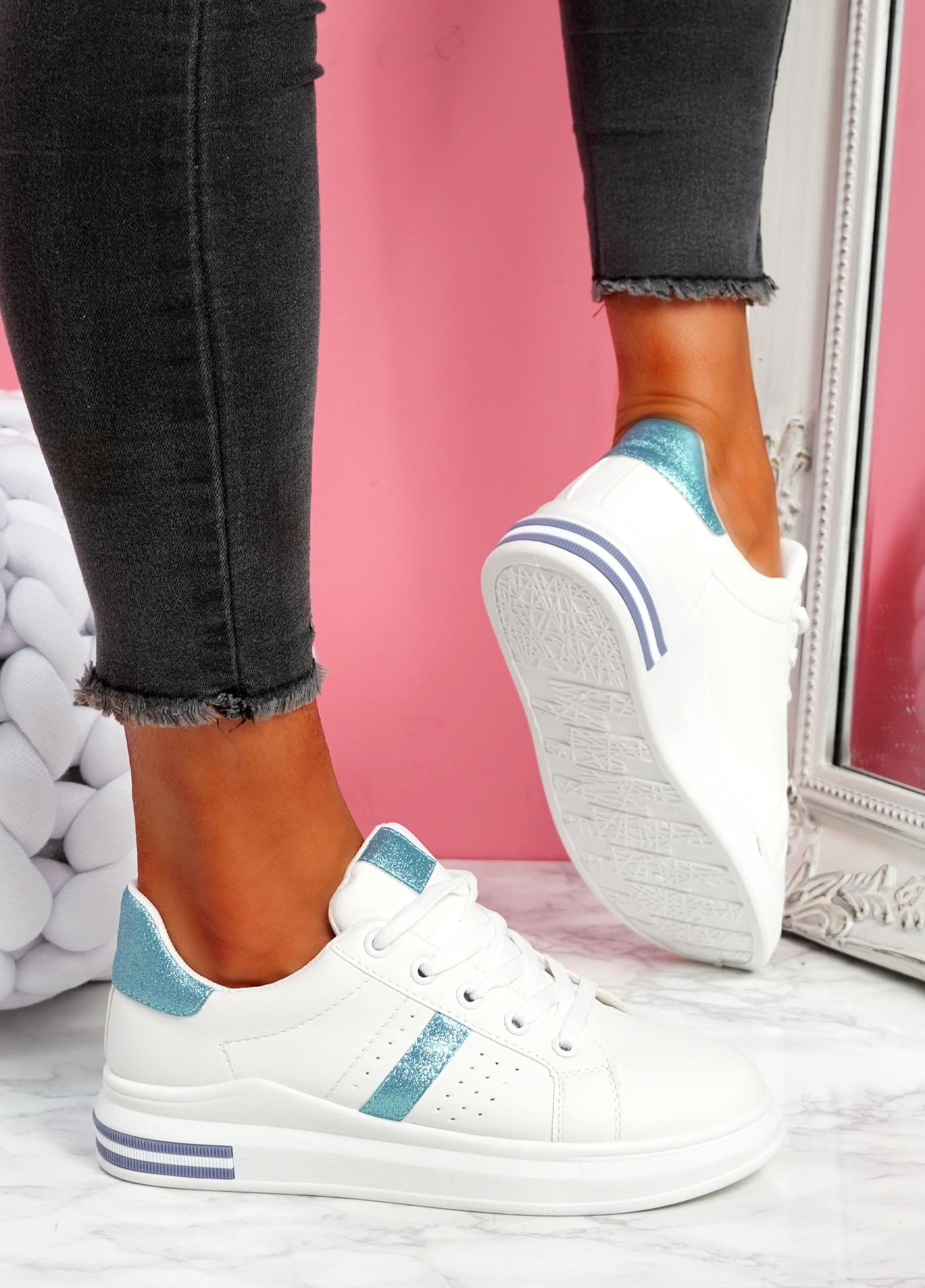 Juwe White Blue Platform Glitter Trainers