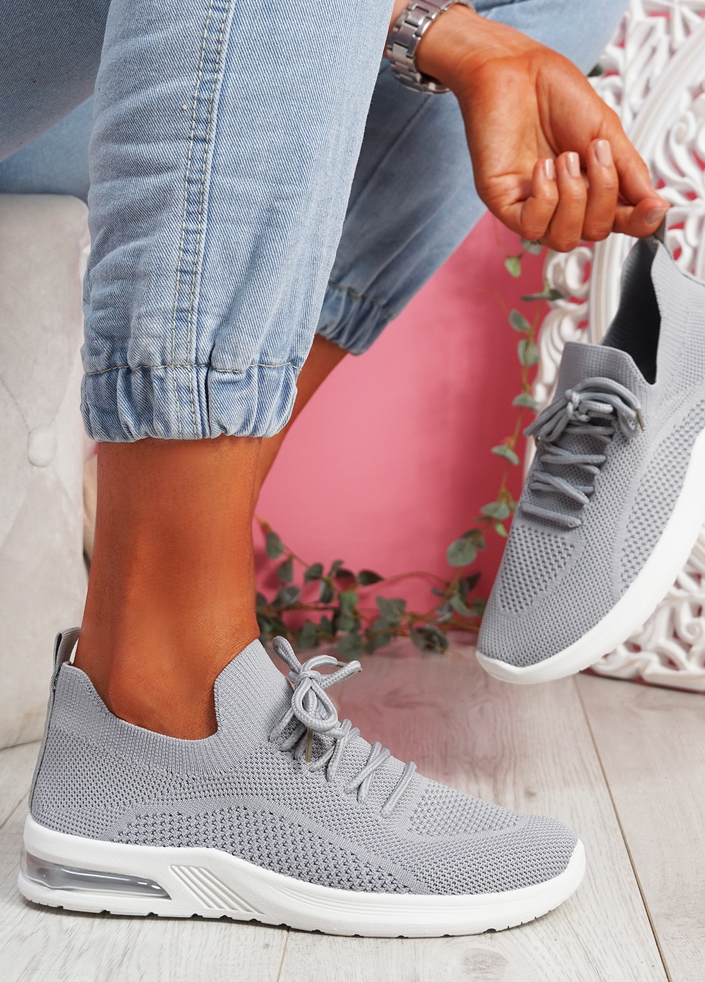 Joby Grey Lace Knit Trainers