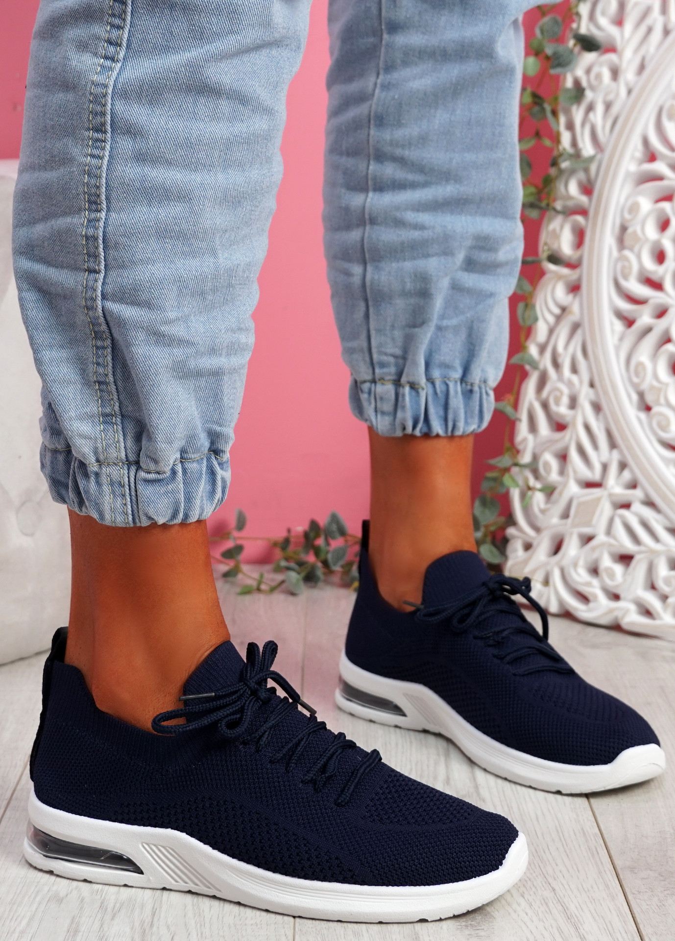 Joby Navy Lace Knit Trainers