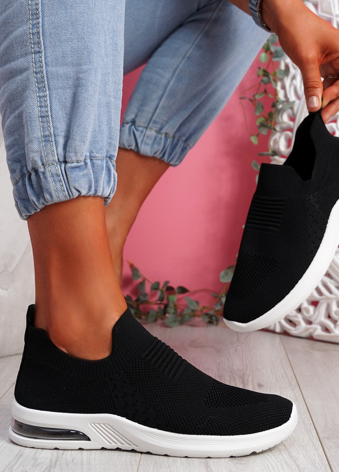 Penna Black Knit Slip On Trainers