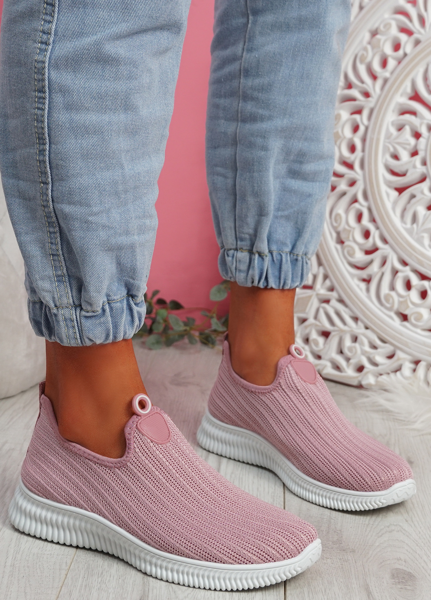Stonna Pink Knit Slip On Sneakers