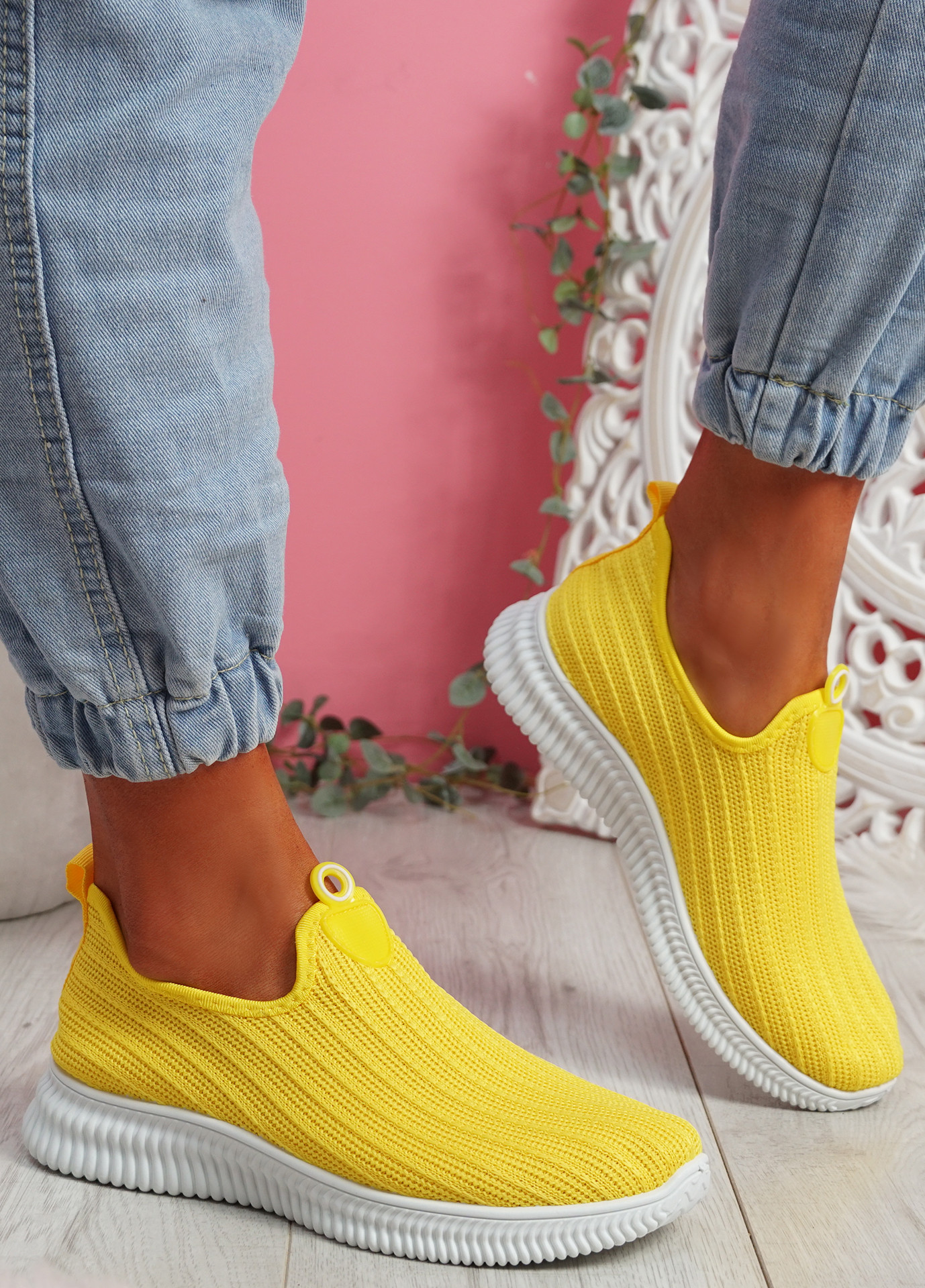 Stonna Yellow Knit Slip On Sneakers