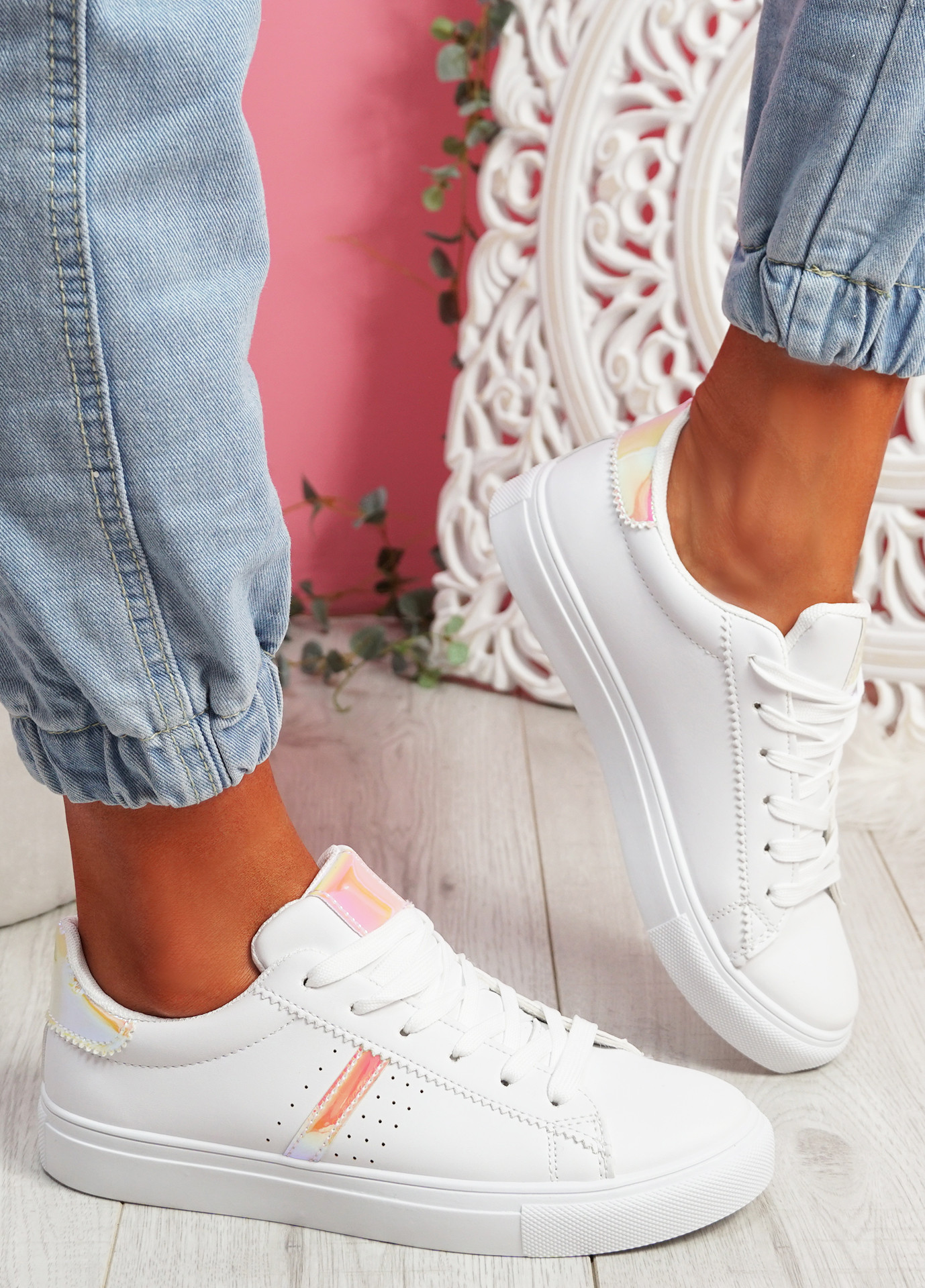 Tynna White Pink Shiny Trainers