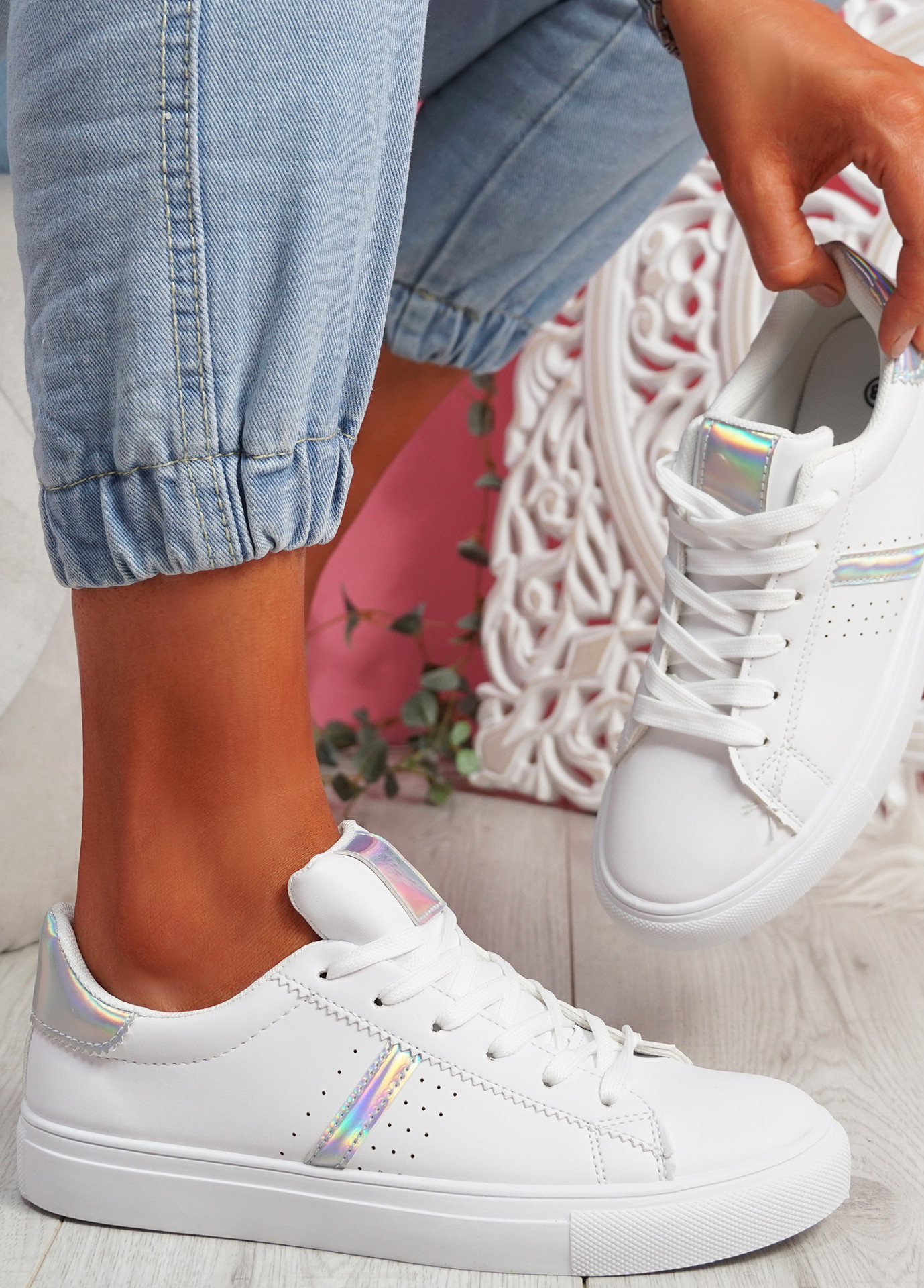 Tynna White Silver Shiny Trainers