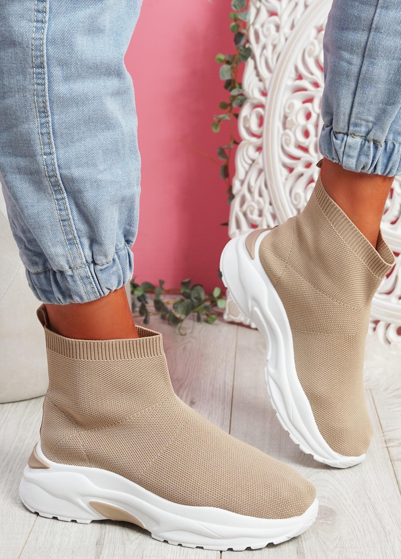 Zime Beige Sock Chunky Sneakers