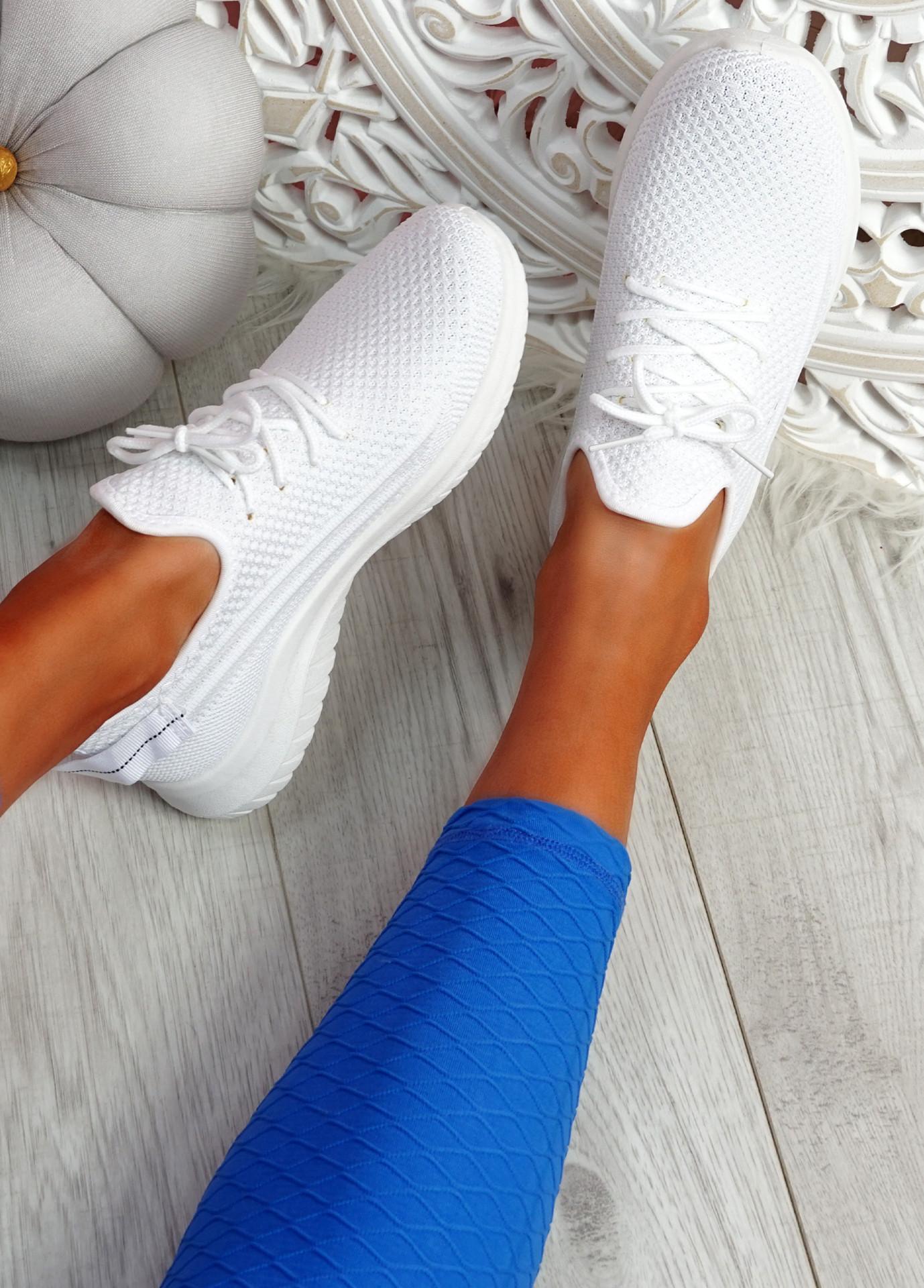 Pobba White Knit Running Trainers