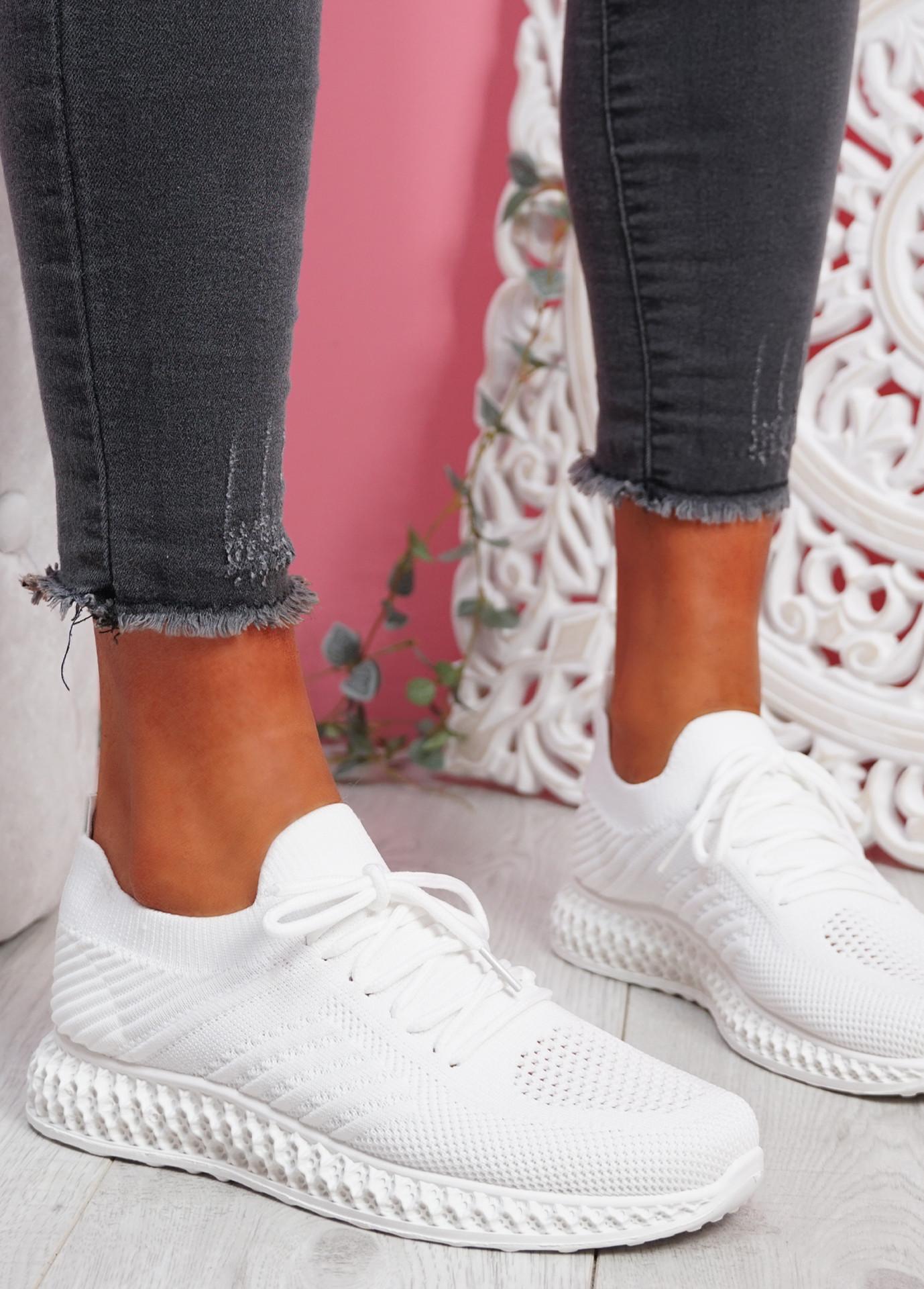 Mava White Knit Running Sneakers