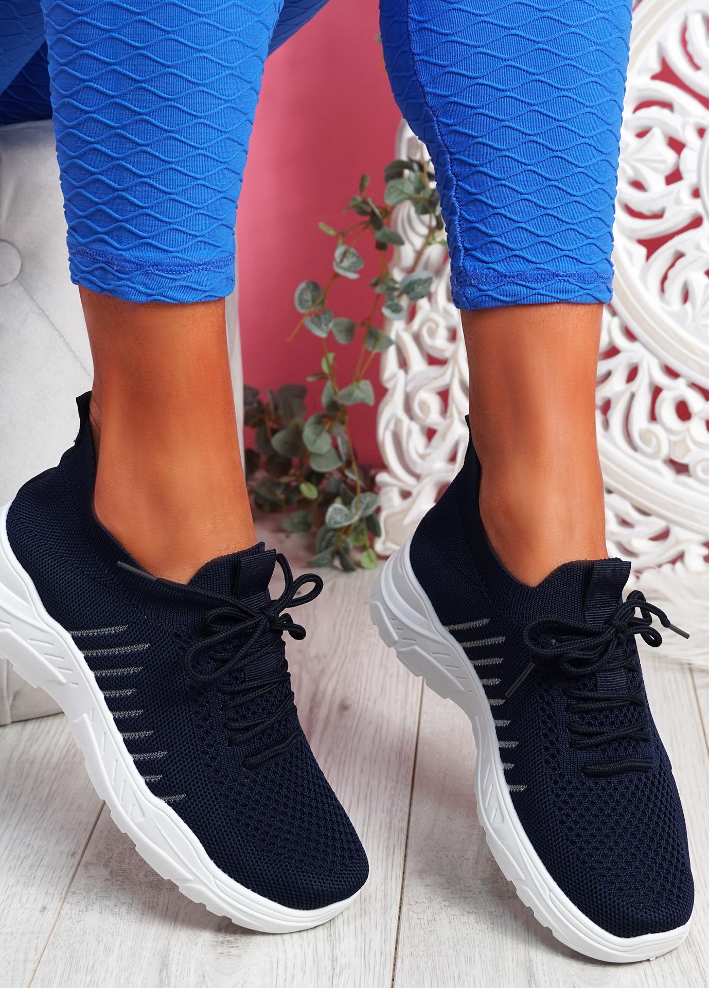 Koda Blue Knit Chunky Sneakers