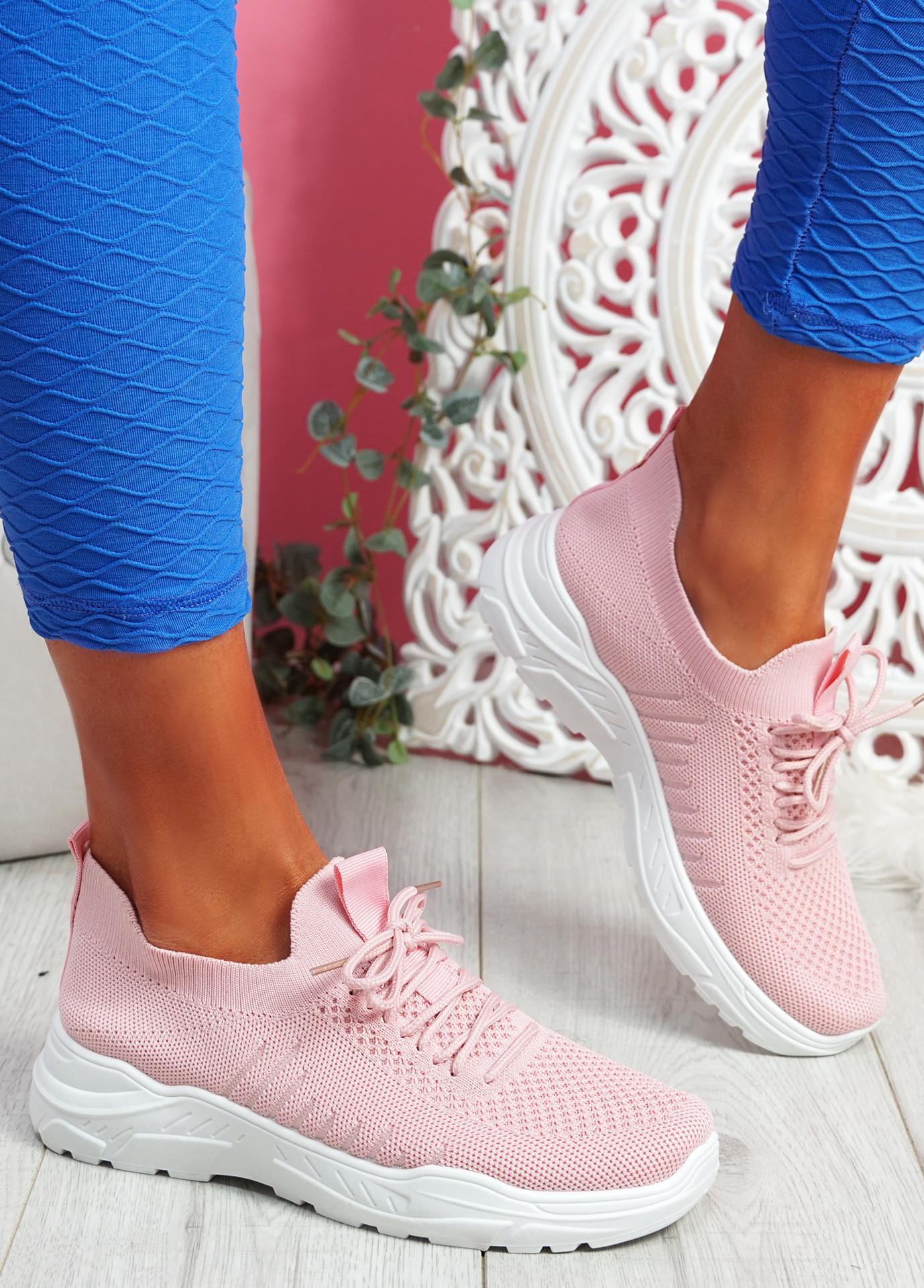 Koda Pink Knit Chunky Sneakers