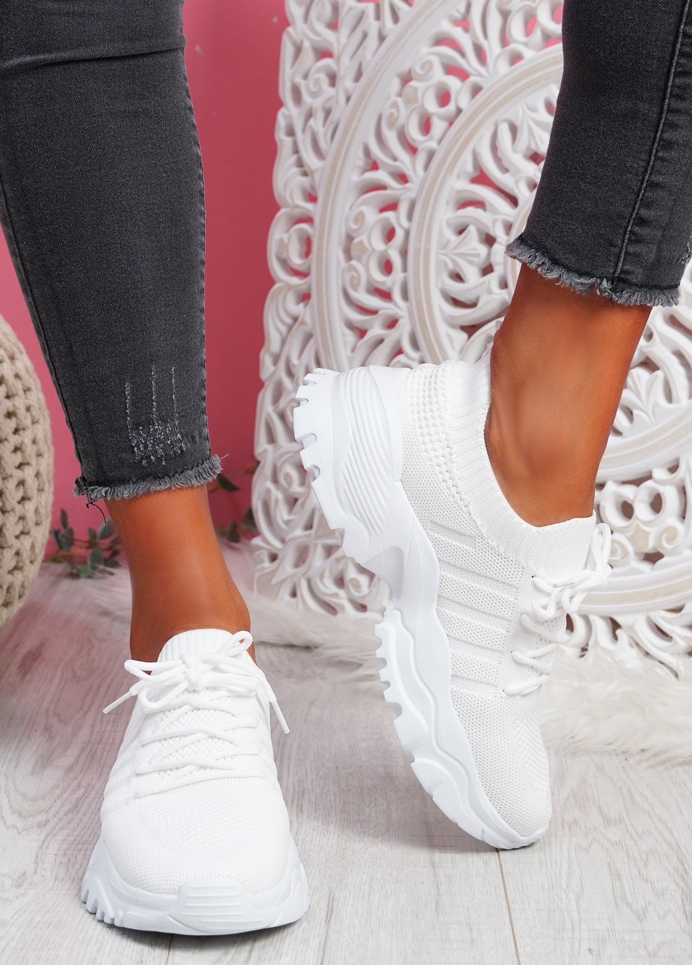 Tilla White Chunky Sport Trainers