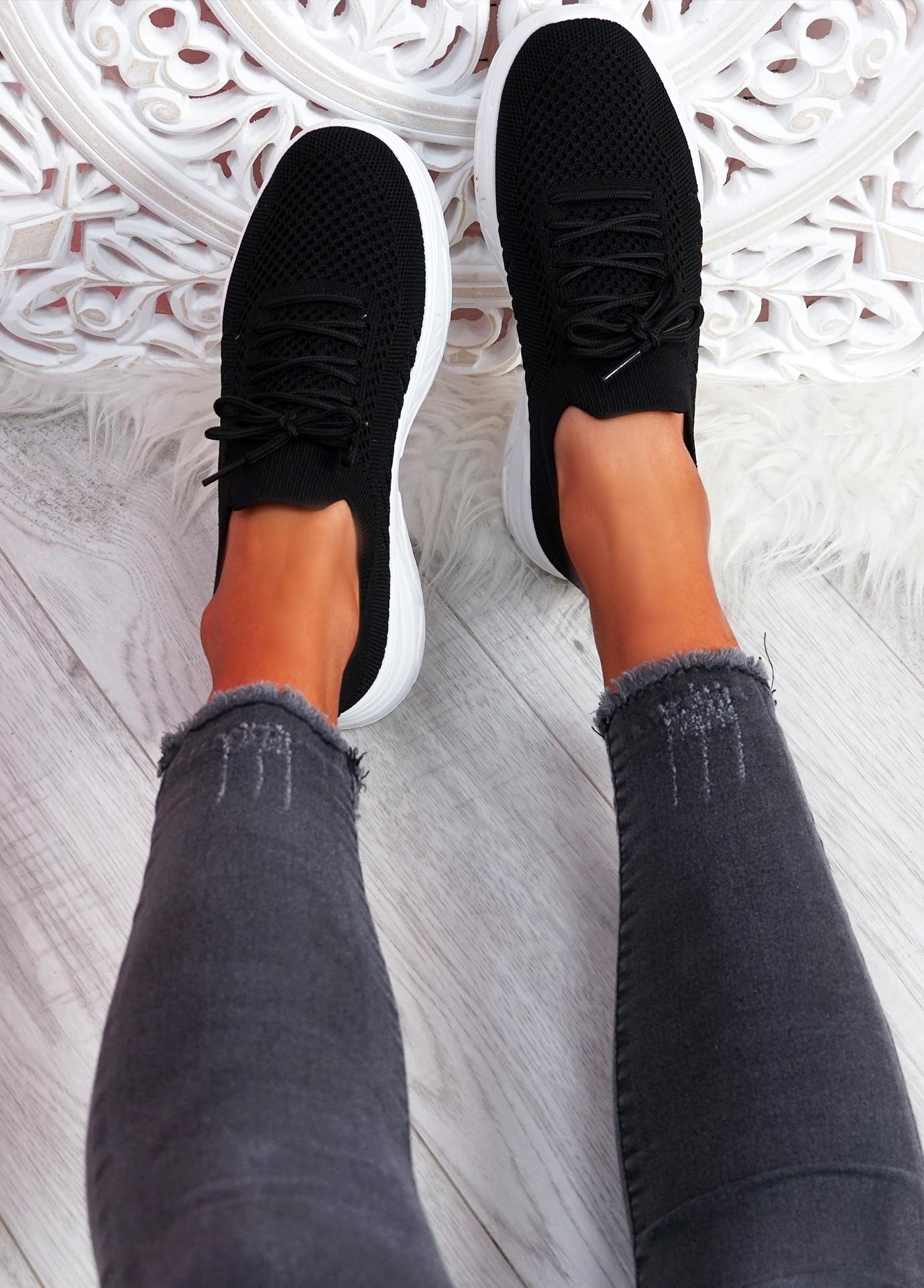 Vono Black Knit Sport Sneakers