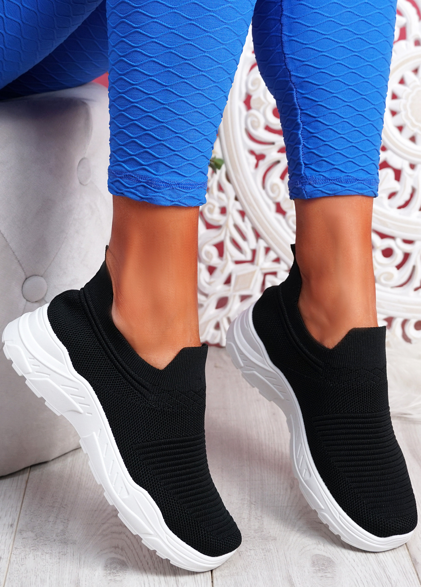 Noxy Black Slip On Knit Trainers