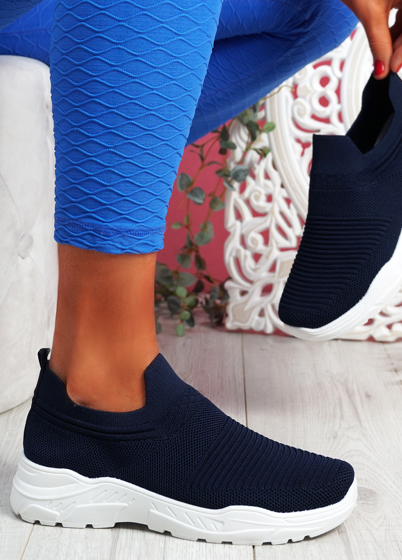 Noxy Blue Slip On Knit Trainers