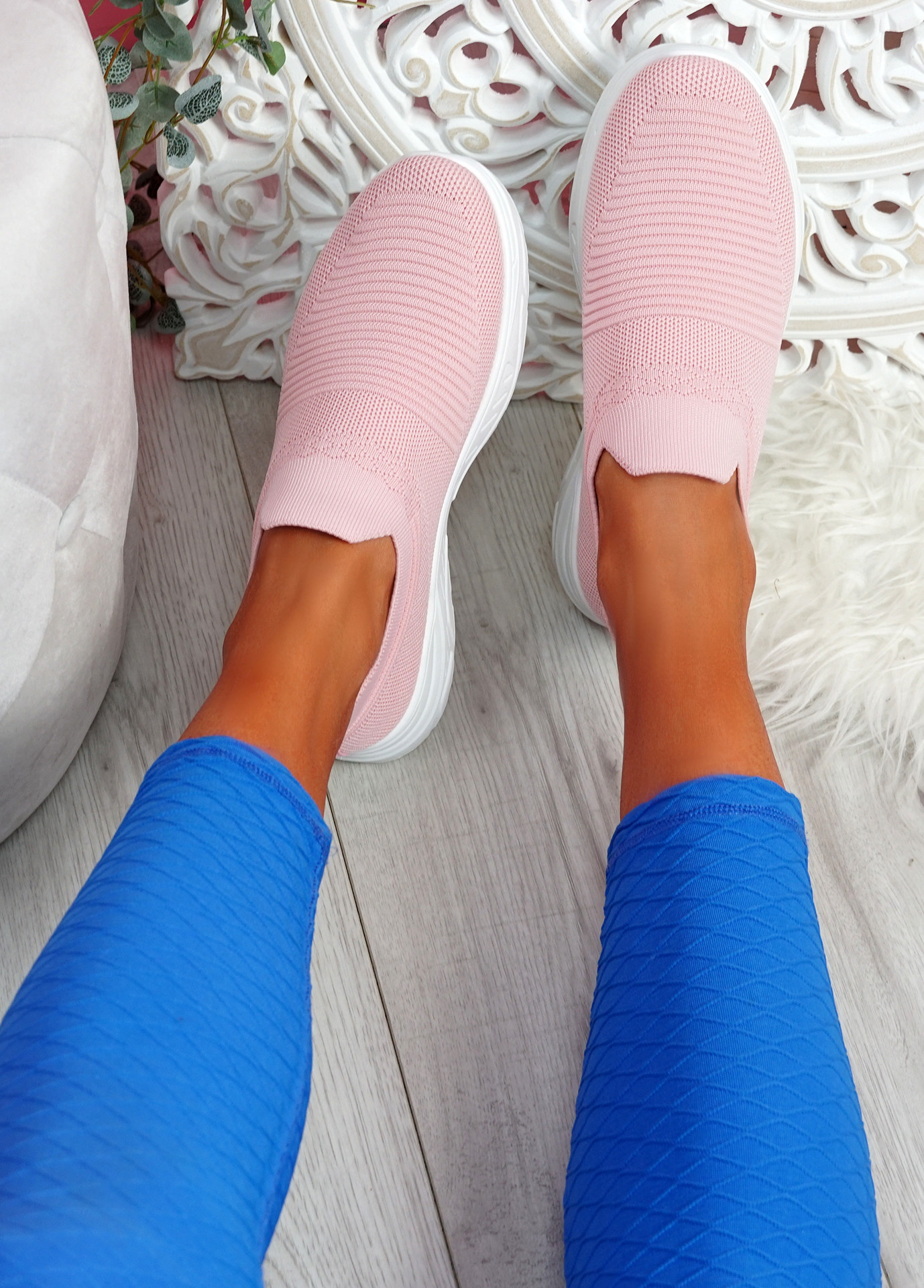 Noxy Pink Slip On Knit Trainers