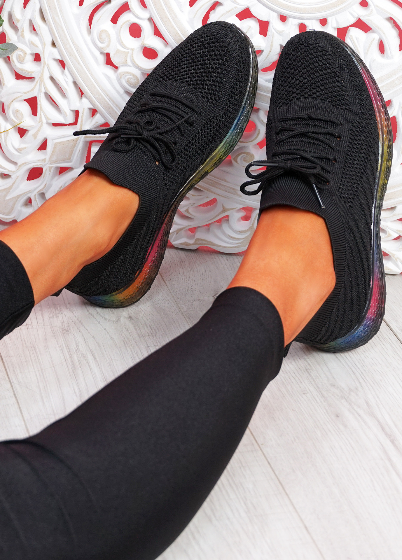 Nolly Black Knit Rainbow Trainers