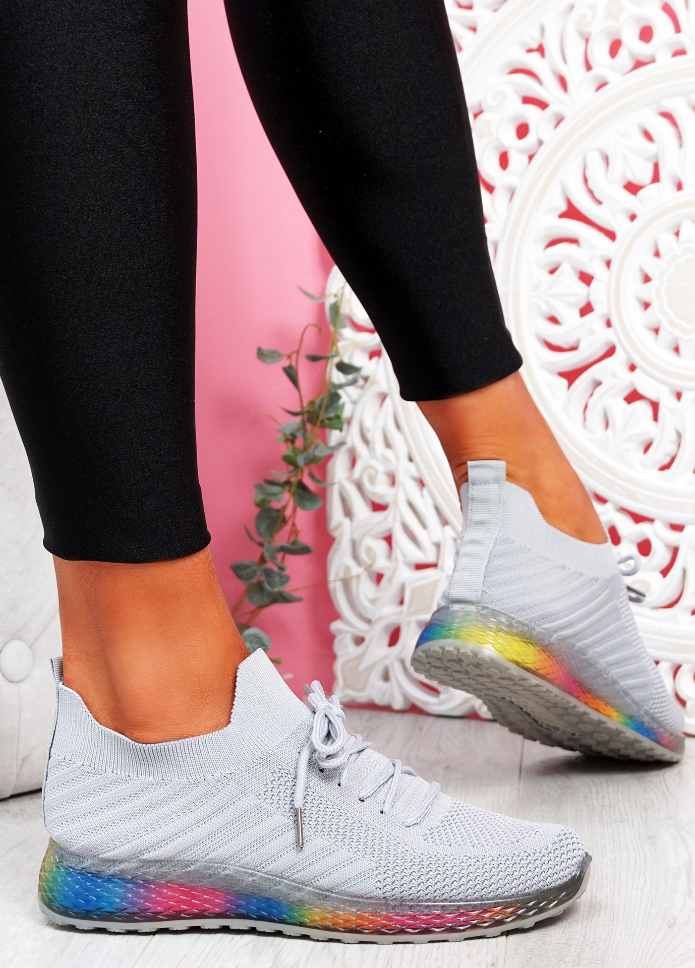 Nolly Grey Knit Rainbow Trainers