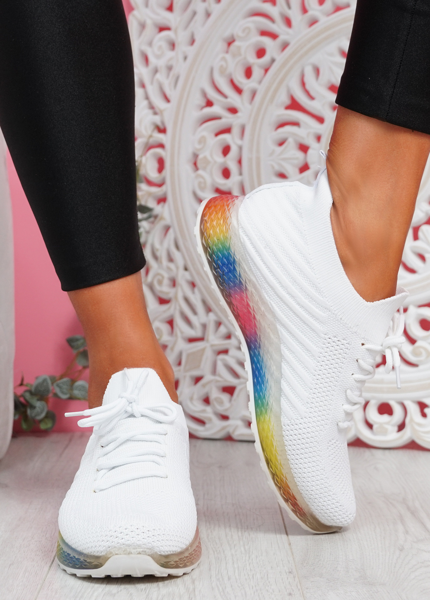 Nolly White Knit Rainbow Trainers