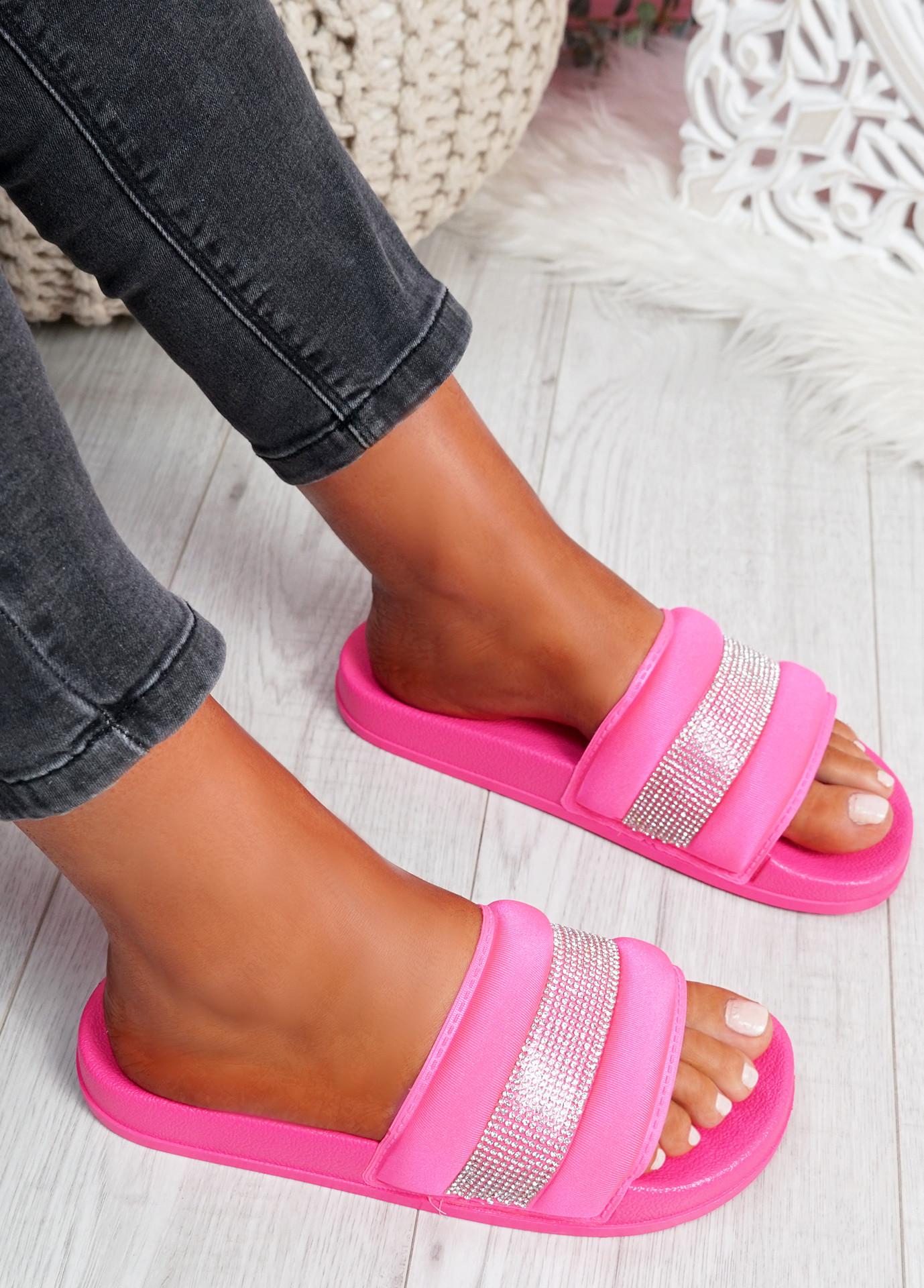 Nitto Fuchsia Diamante Studded Flat Sandals