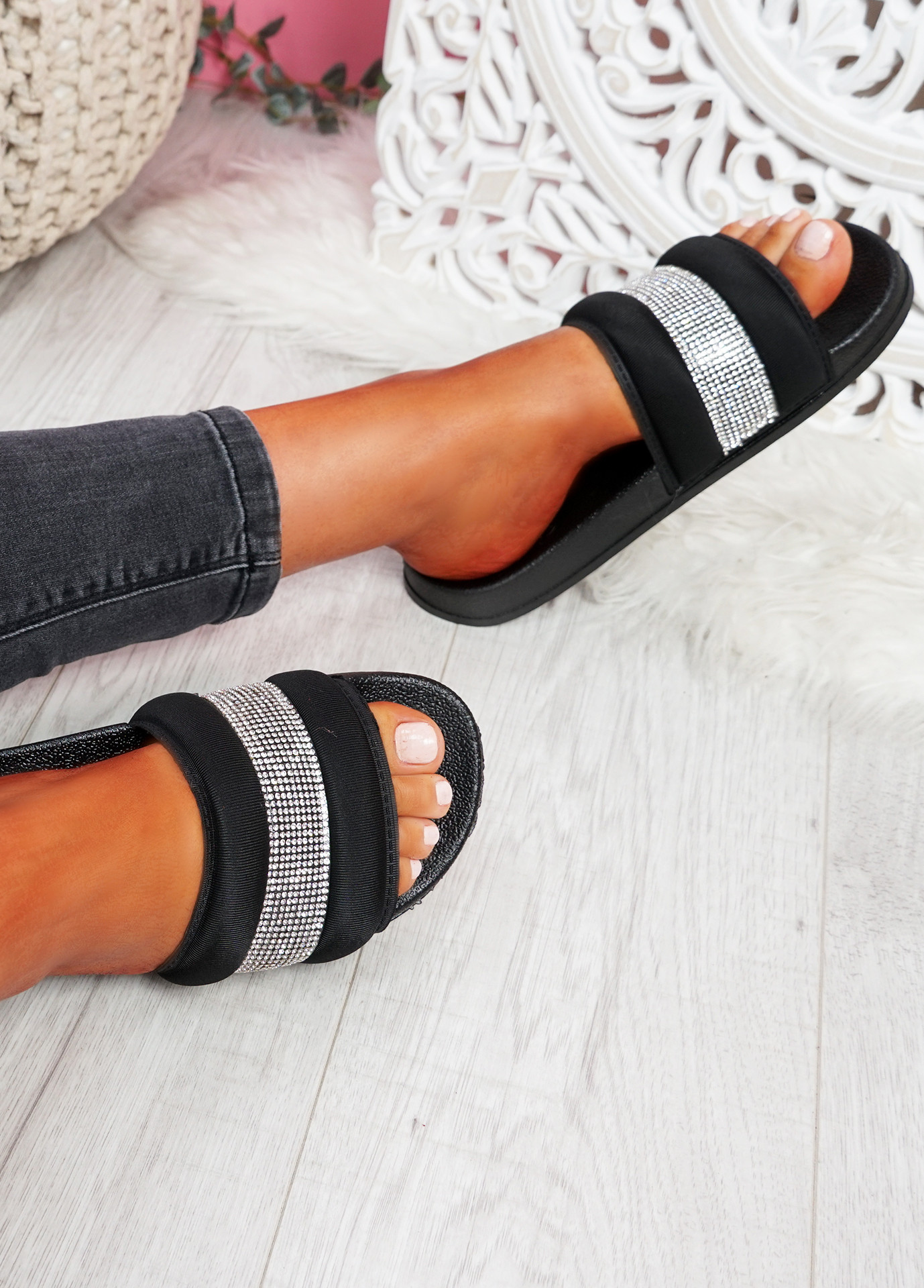 Nitto Black Diamante Studded Flat Sandals