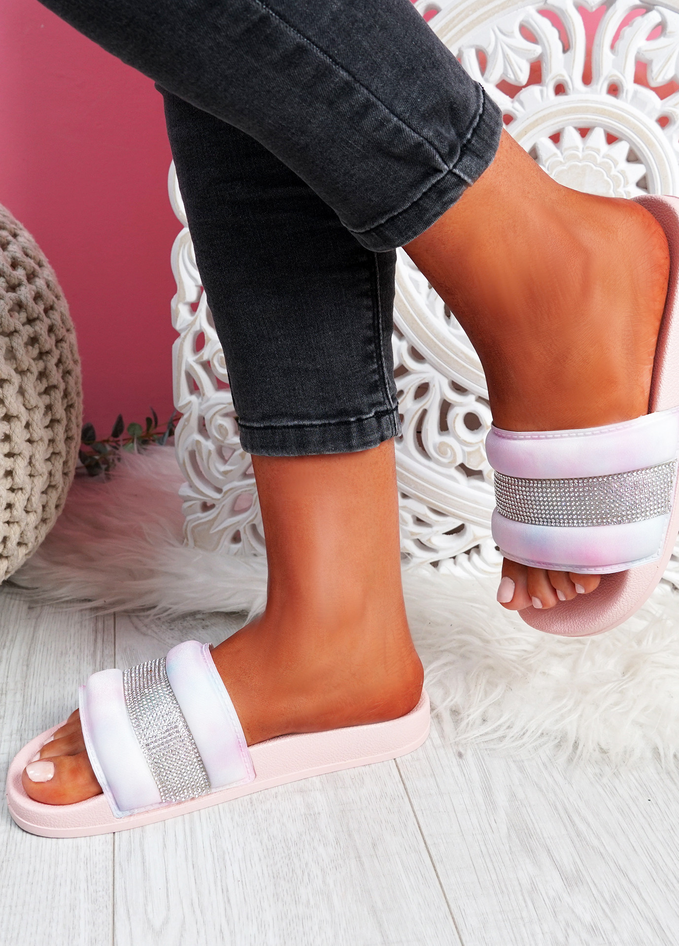 Nitto Pink Diamante Studded Flat Sandals