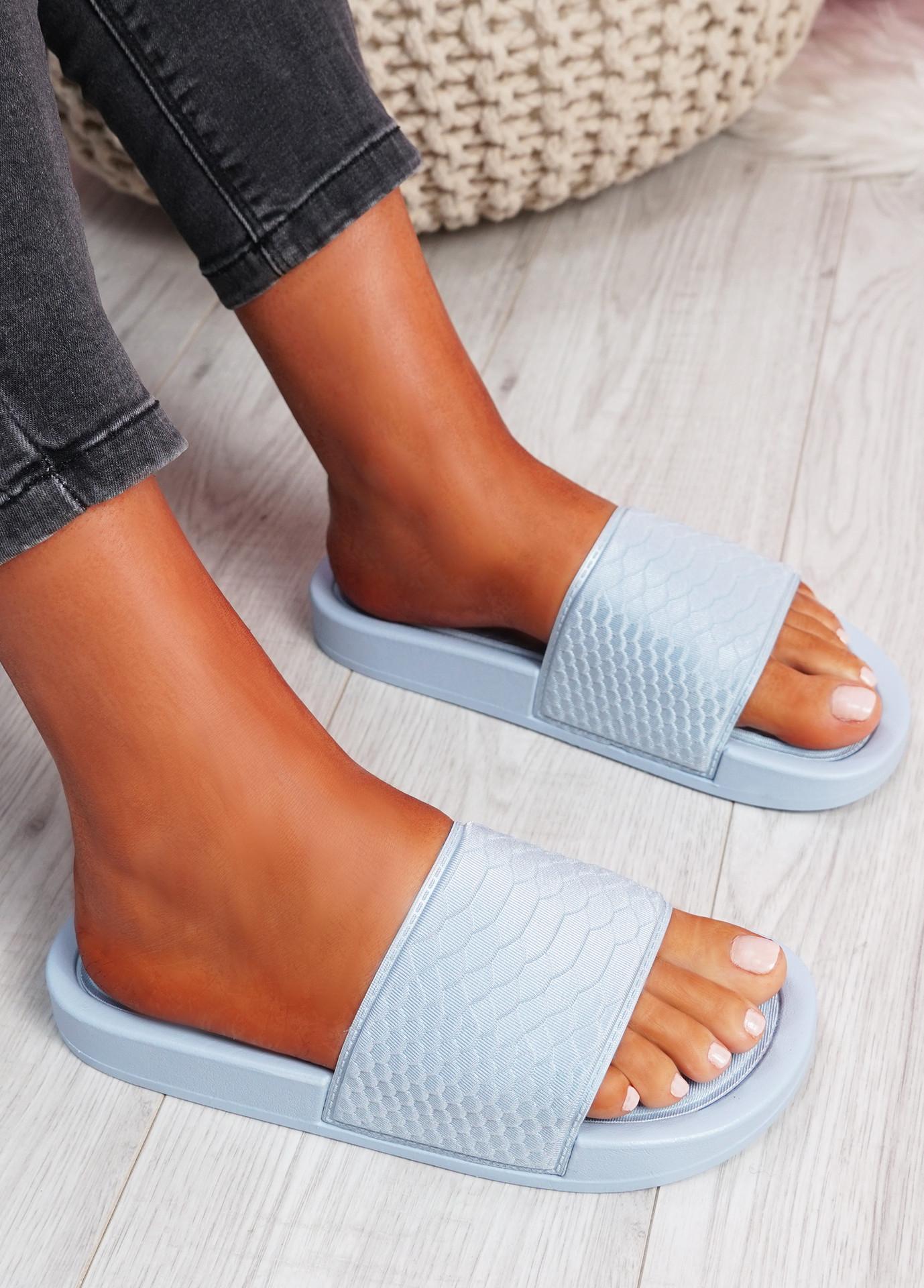 Soha Blue Flat Sandals Sliders