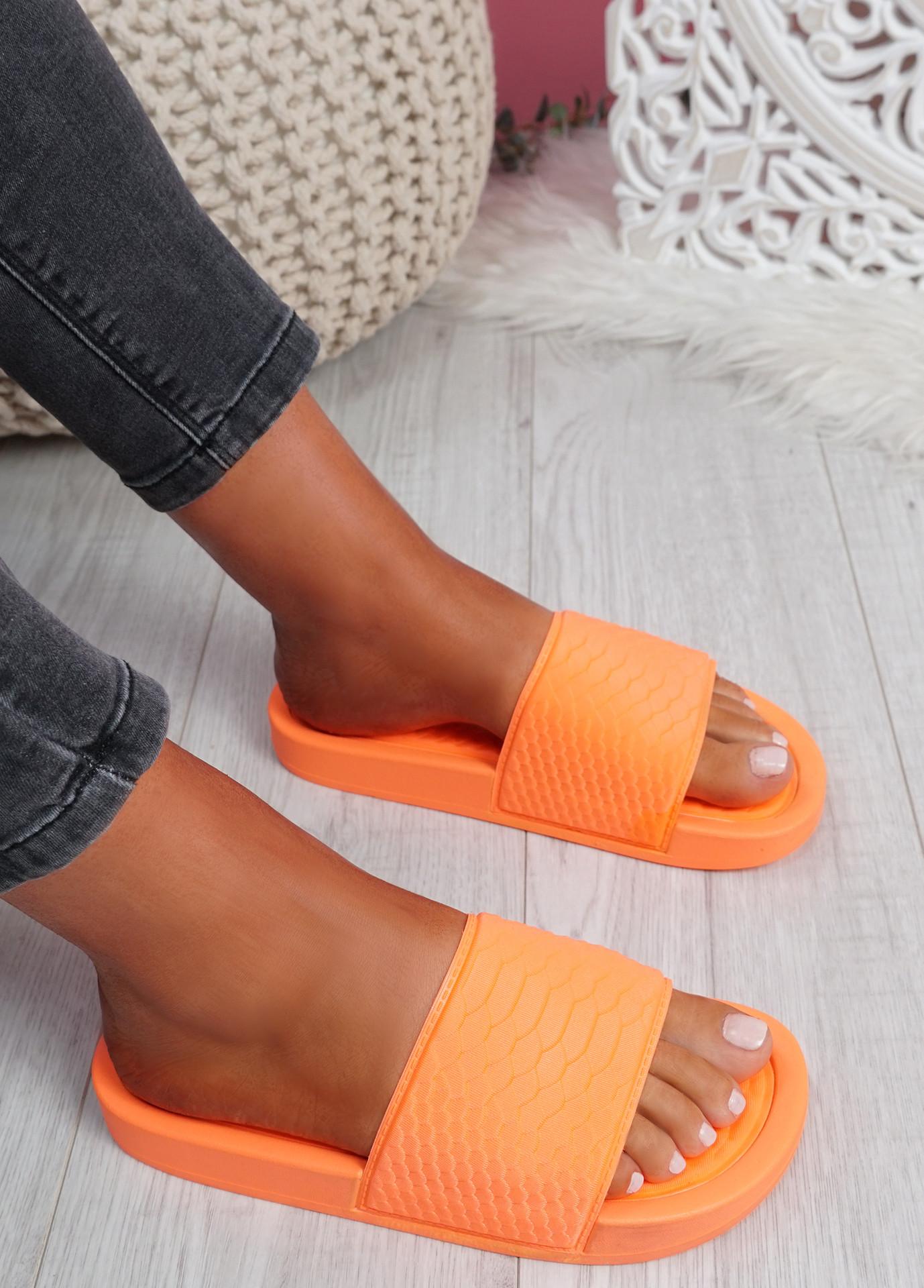 Soha Orange Flat Sandals Sliders