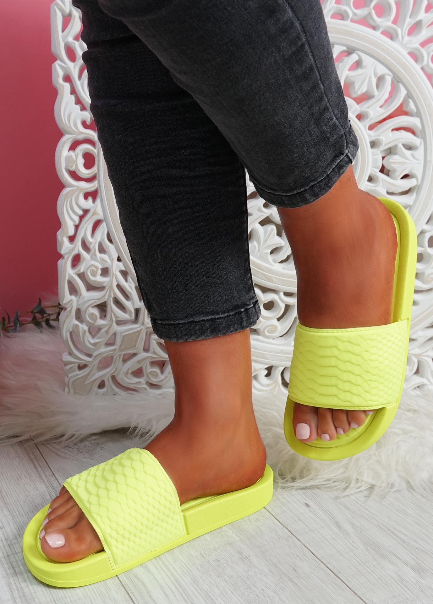 Soha Yellow Flat Sandals Sliders