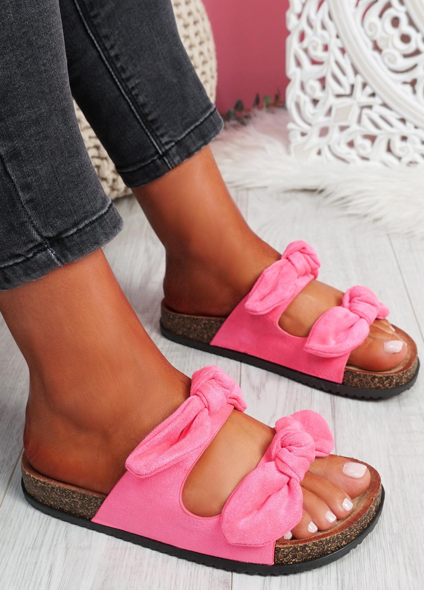 Hogy Fuchsia Bow Flat Sandals