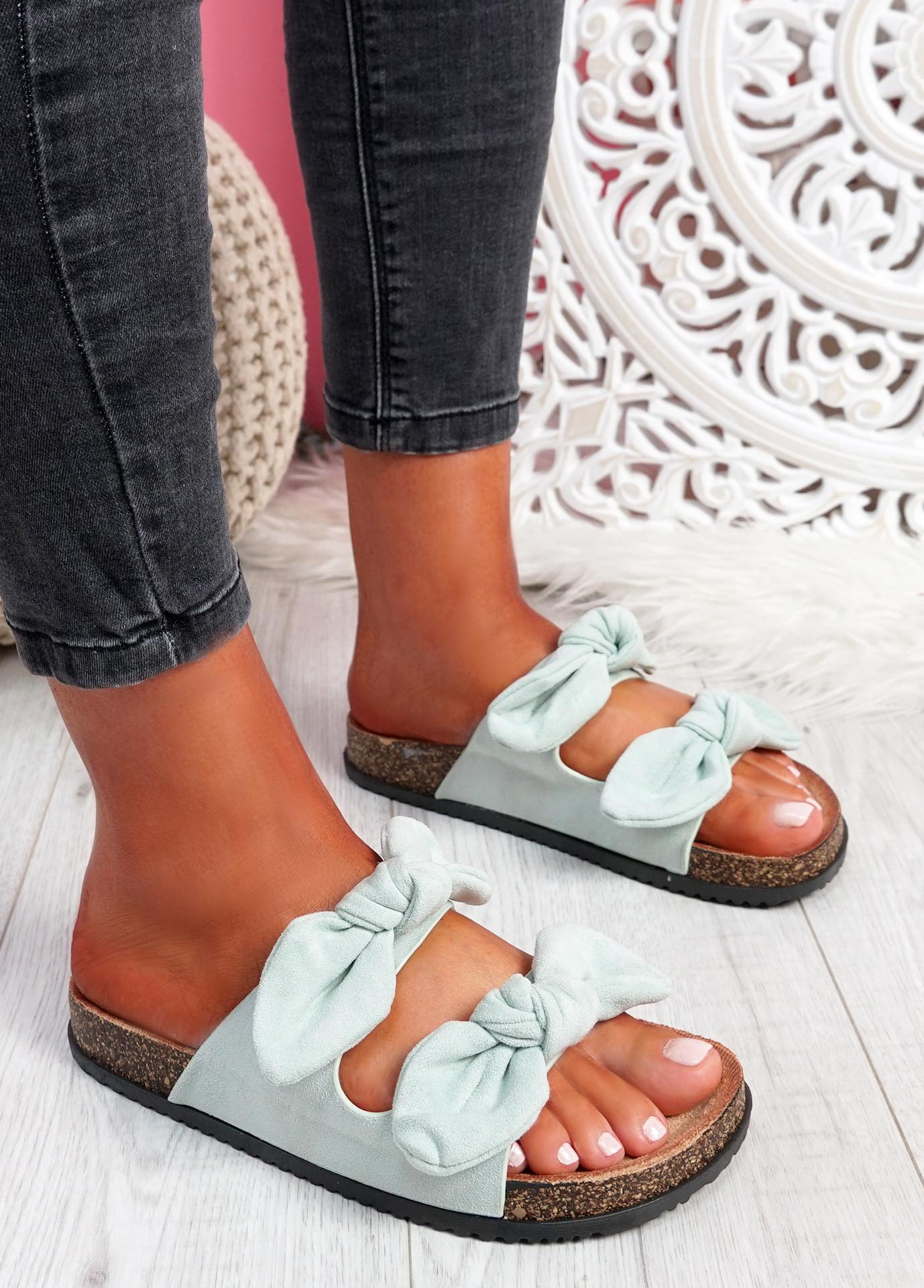 Hogy Green Bow Flat Sandals