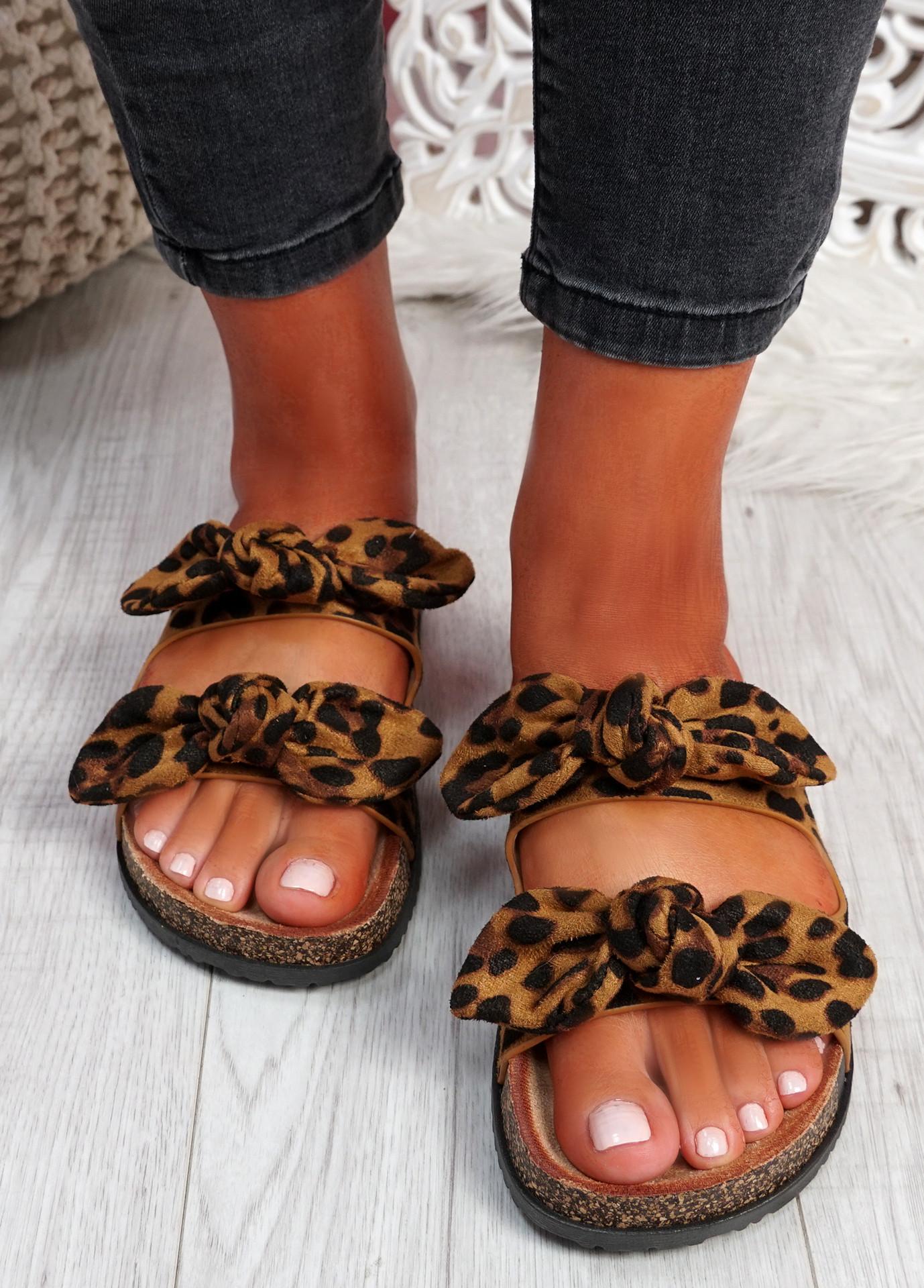 Hogy Leopard Bow Flat Sandals