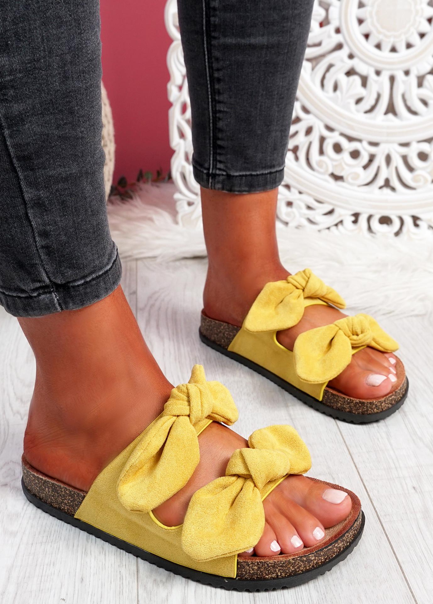 Hogy Yellow Bow Flat Sandals