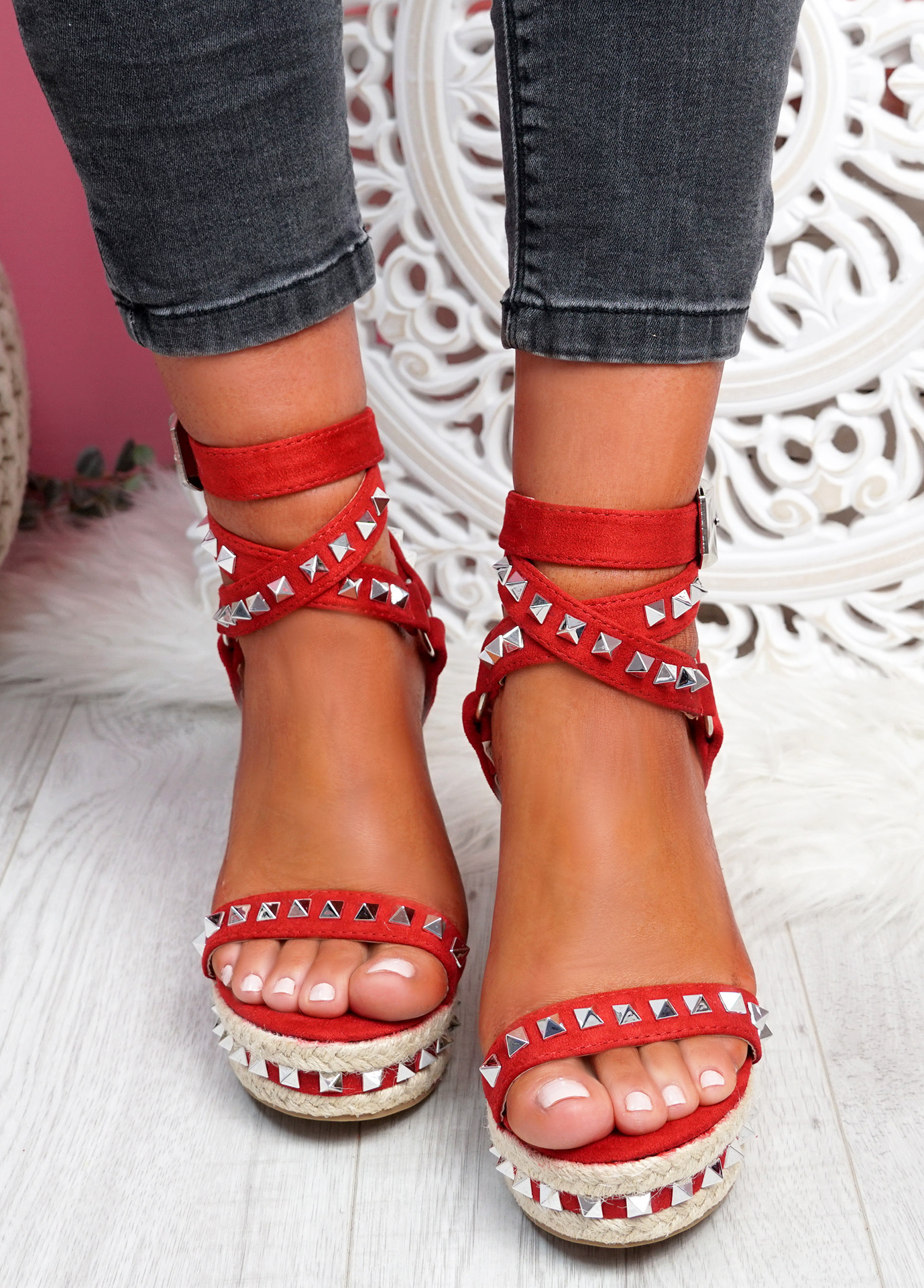 Numy Red Wedge Rock Studs Sandals
