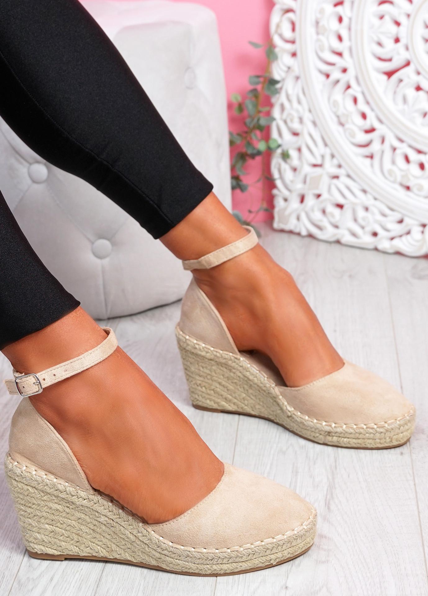 Tifa Beige Wedges Platform Sandals
