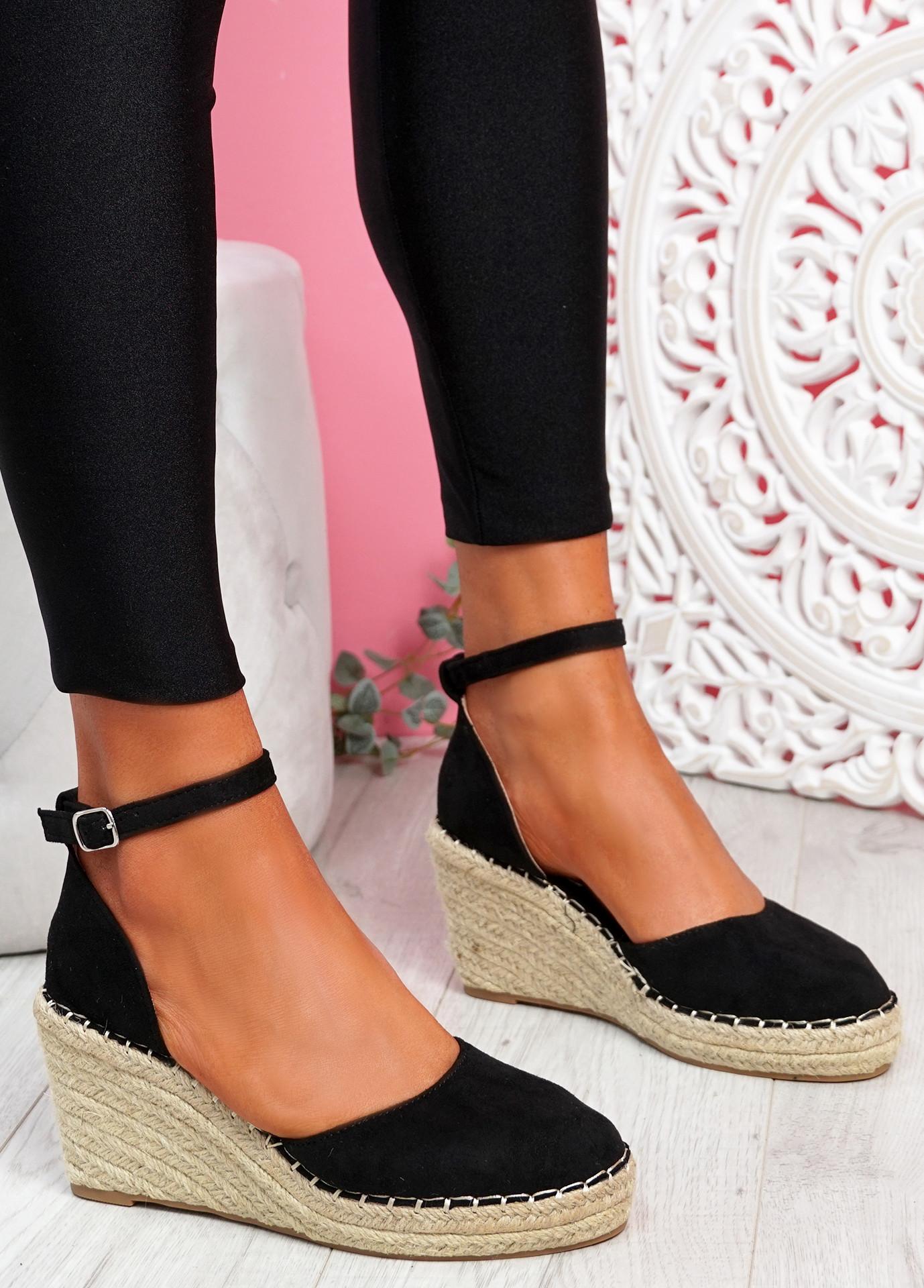 Tifa Black Wedges Platform Sandals