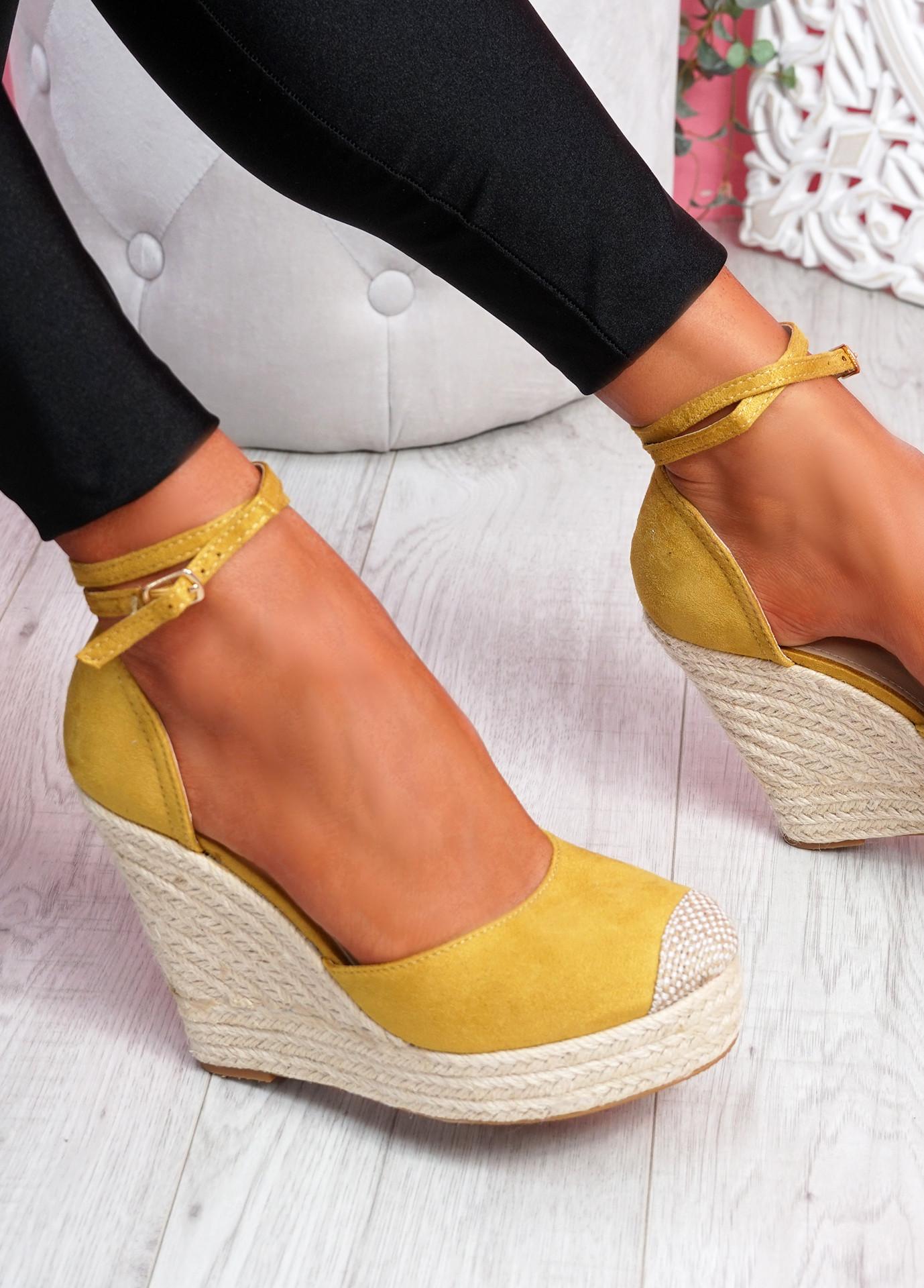 Uty Yellow High Heel Wedge Sandals