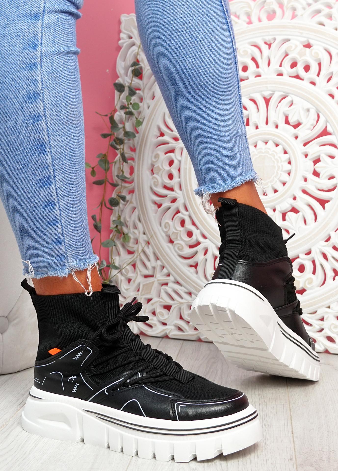 Rife Black Sock Chunky Trainers