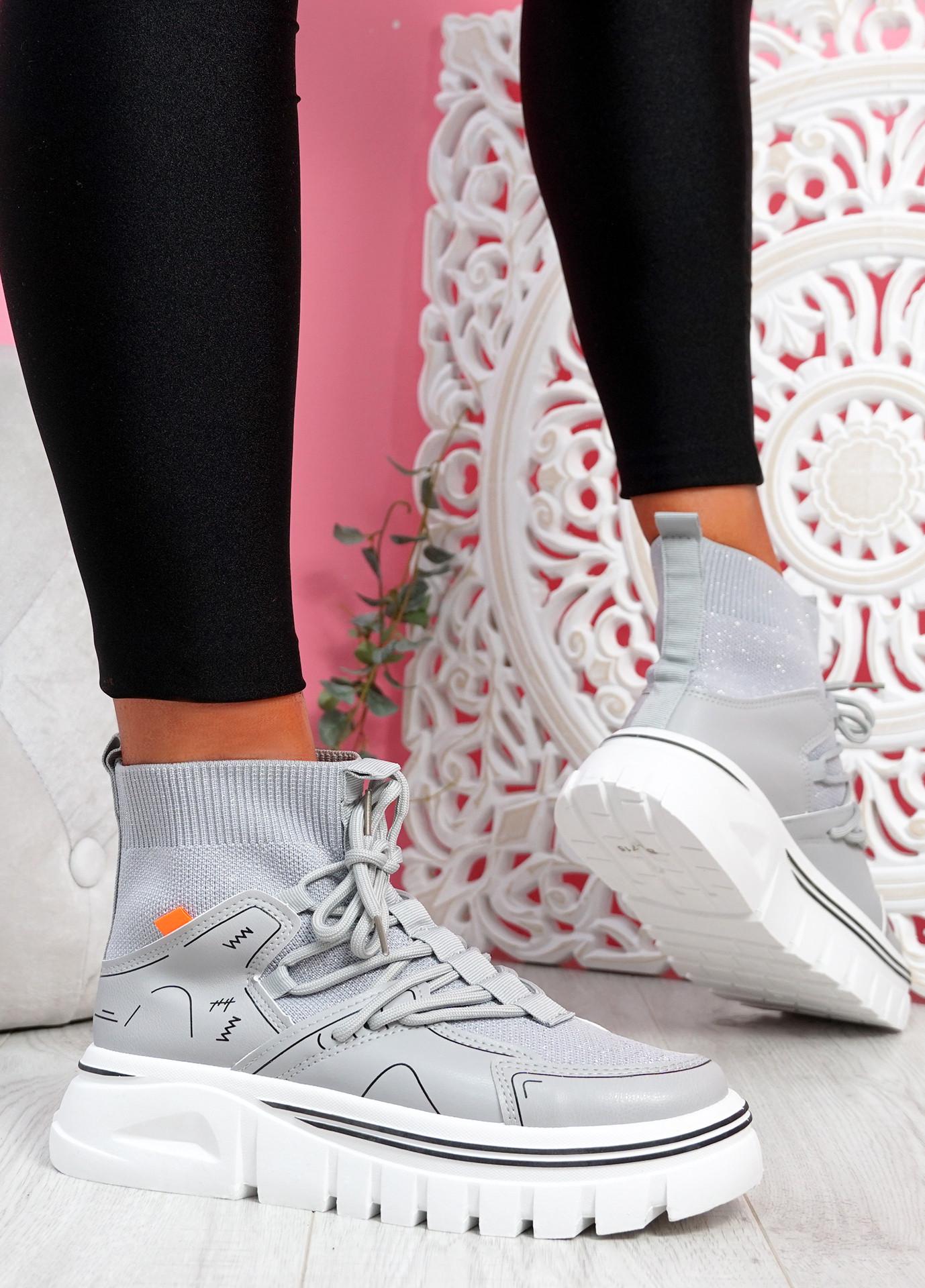 Rife Grey Sock Chunky Trainers