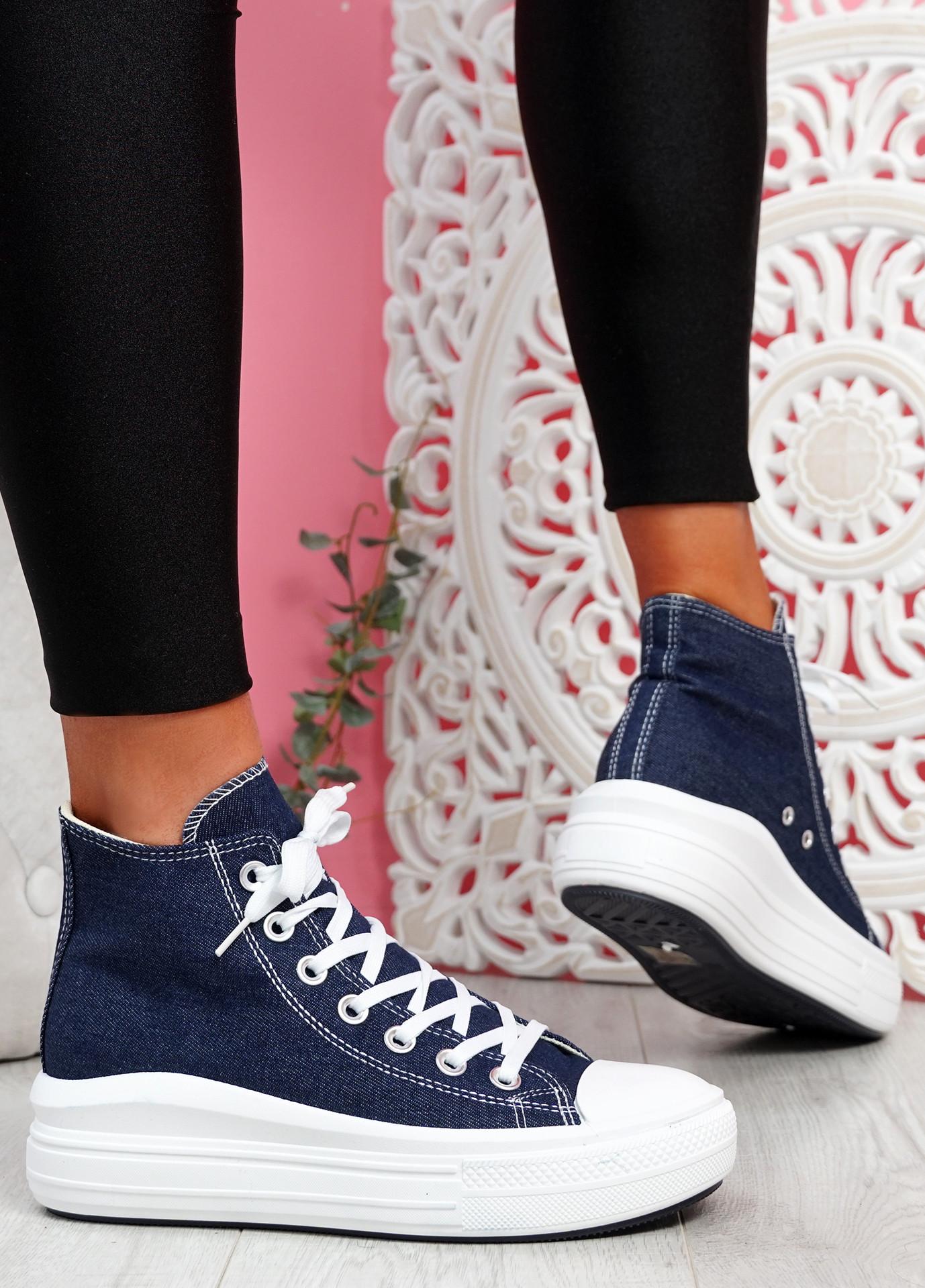 Tuga Jeans Blue Platform Trainers