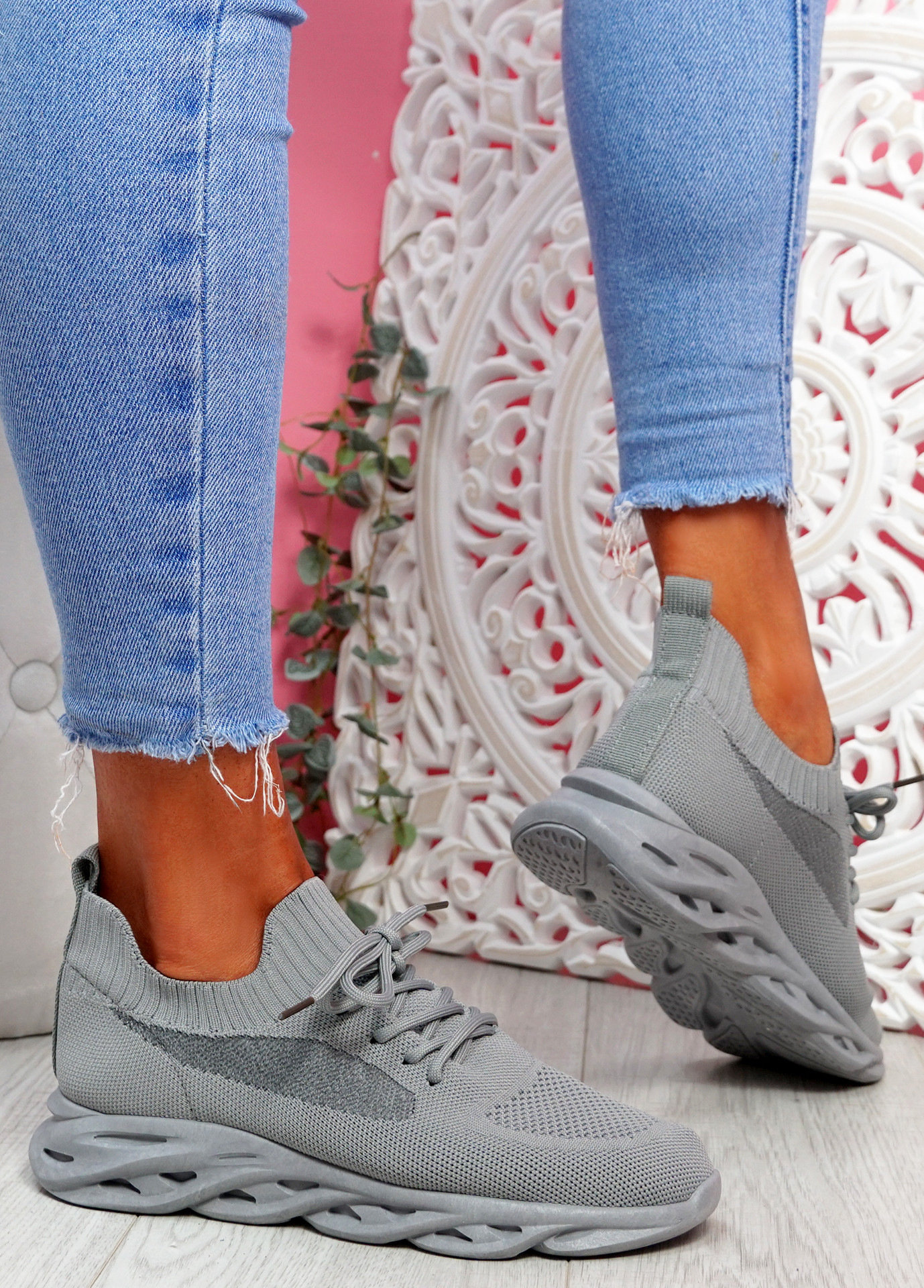 Timo Grey Knit Trainers