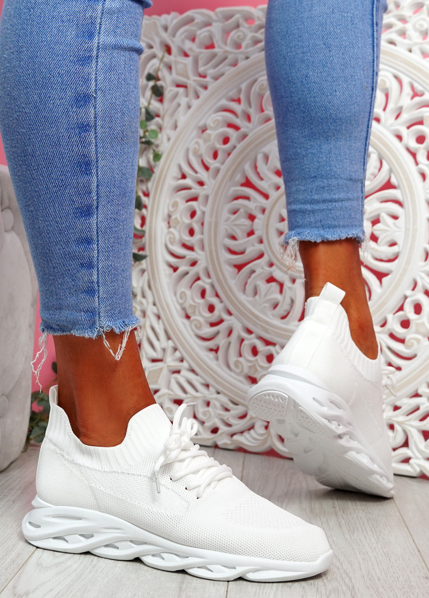 Timo White Knit Trainers