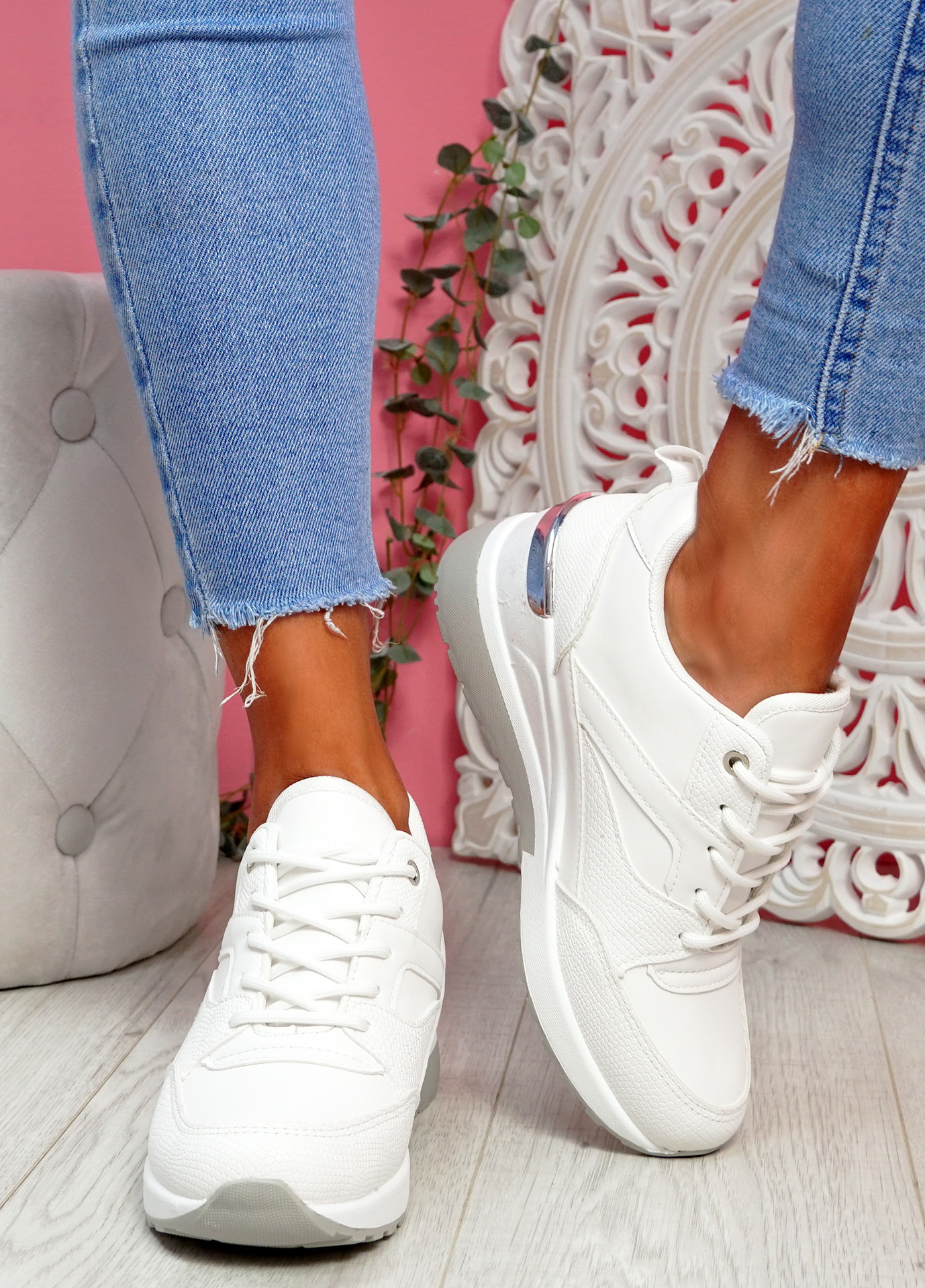 Tovy White Snake Skin Trainers